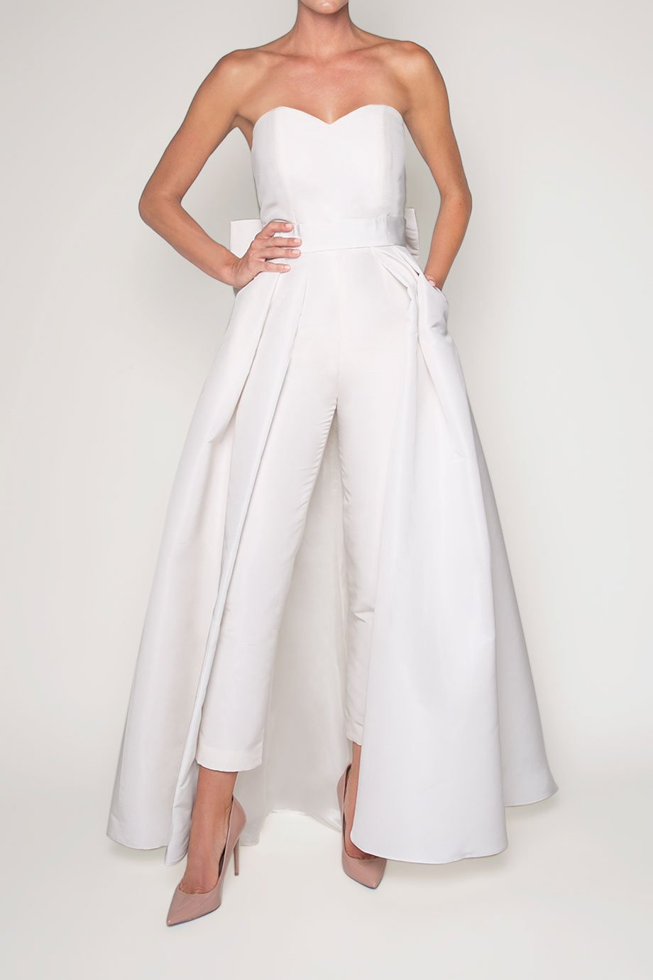 convertible wedding reception jumpsuit and skirt