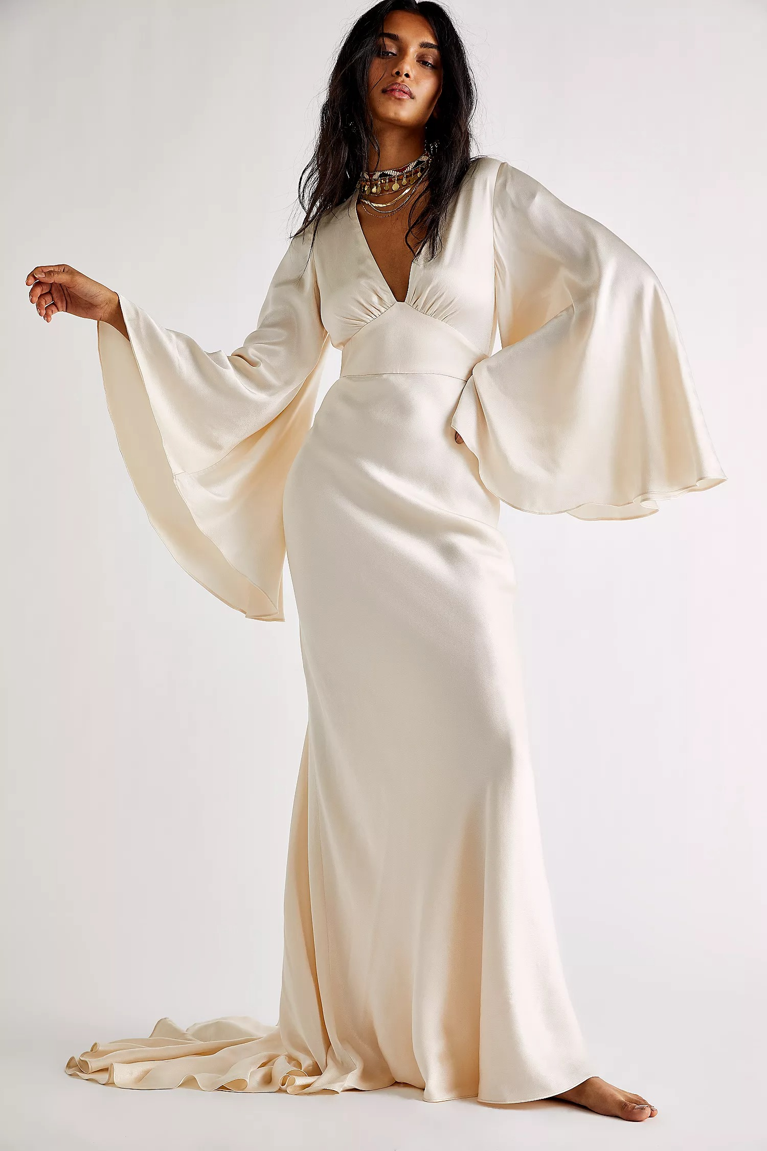 wedding reception dress boho white circle sleeve free people