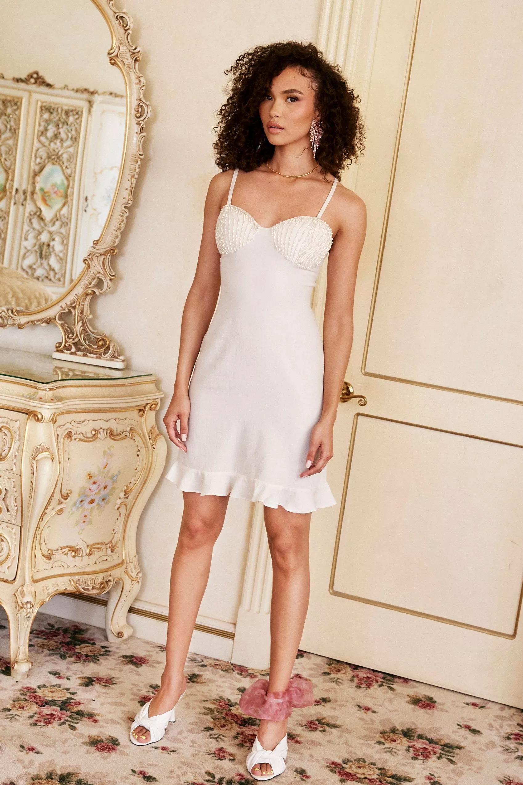 wedding reception mini dress pearl satin bustier