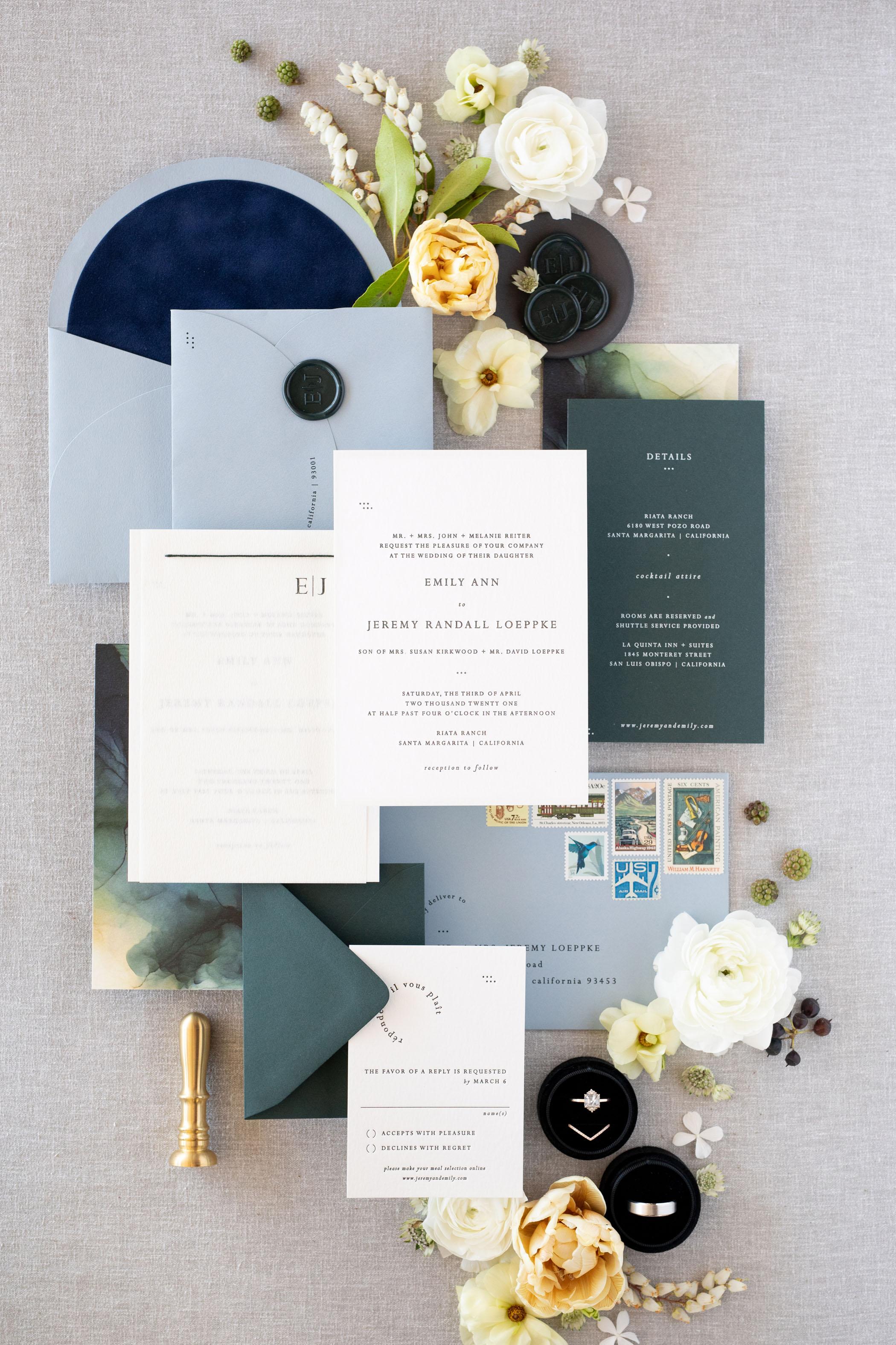 classic blue wedding invitation suite