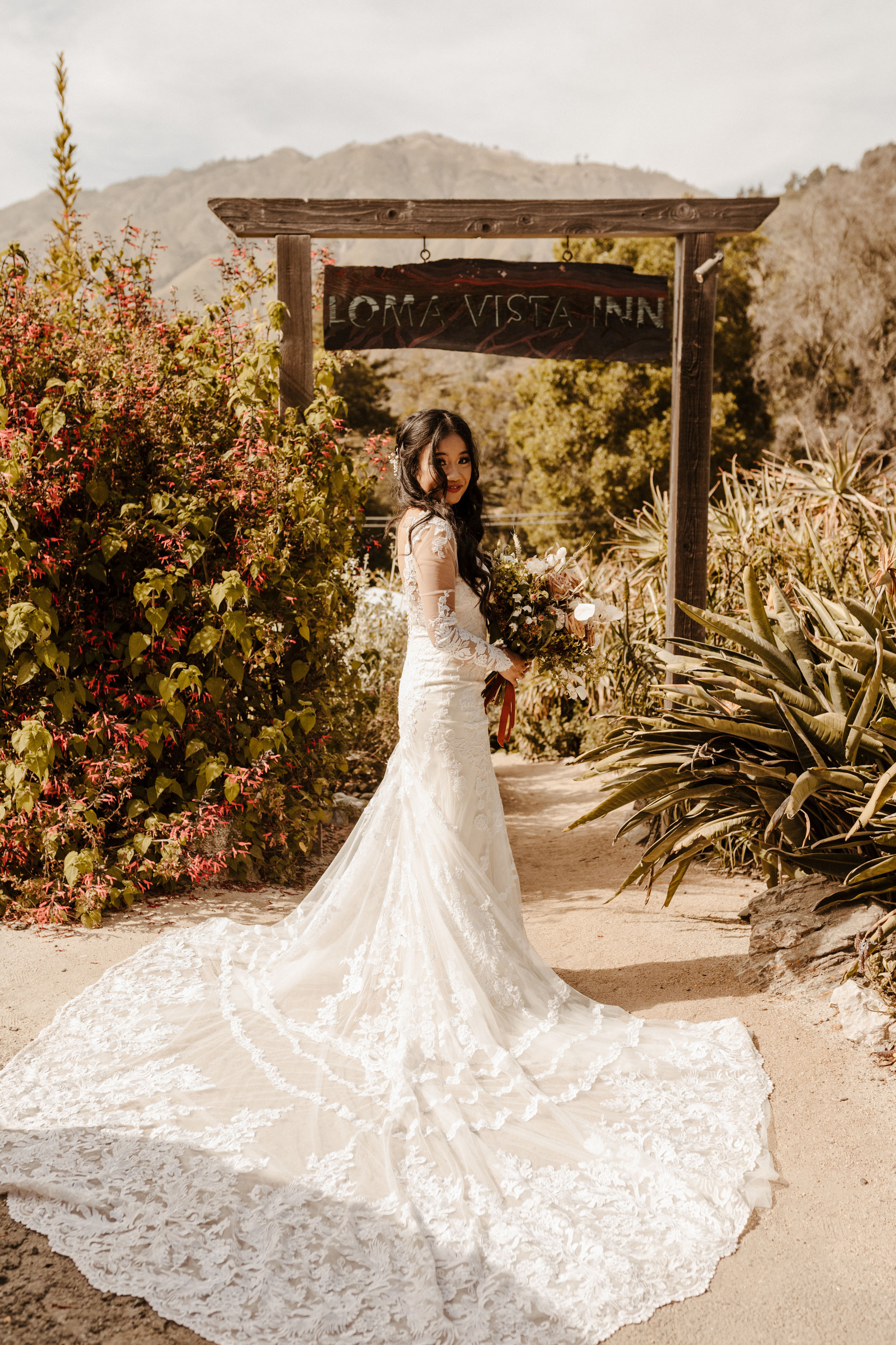 Long Sleeve Lace Wedding Dress with Train