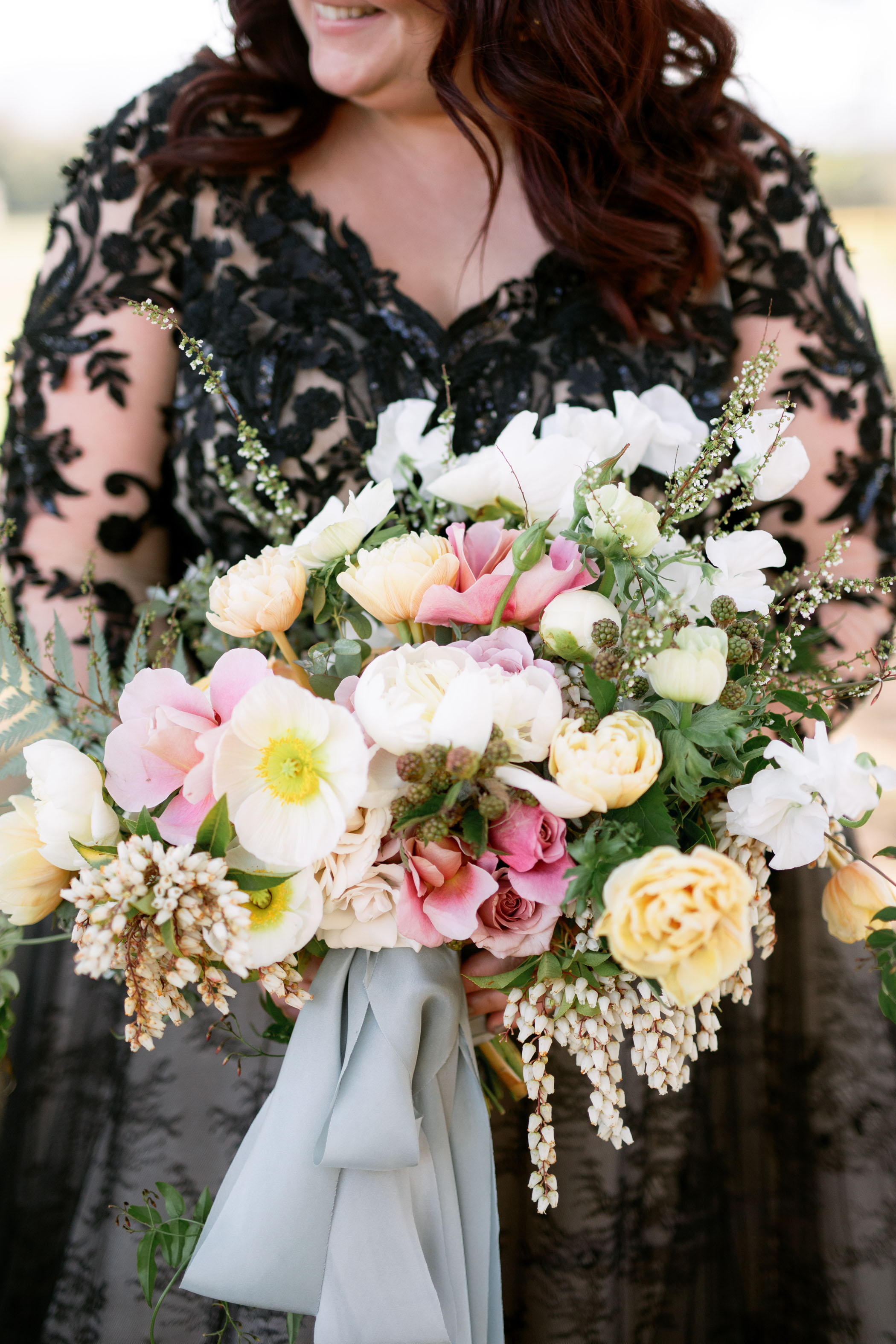 white and pink poppy bouquet
