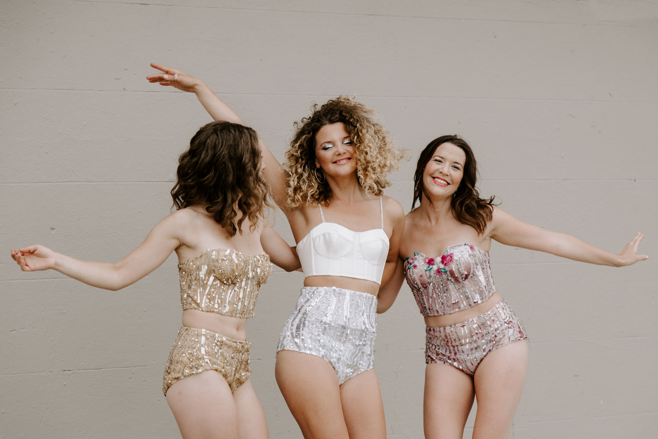 bride and bridesmaids sequin outfits