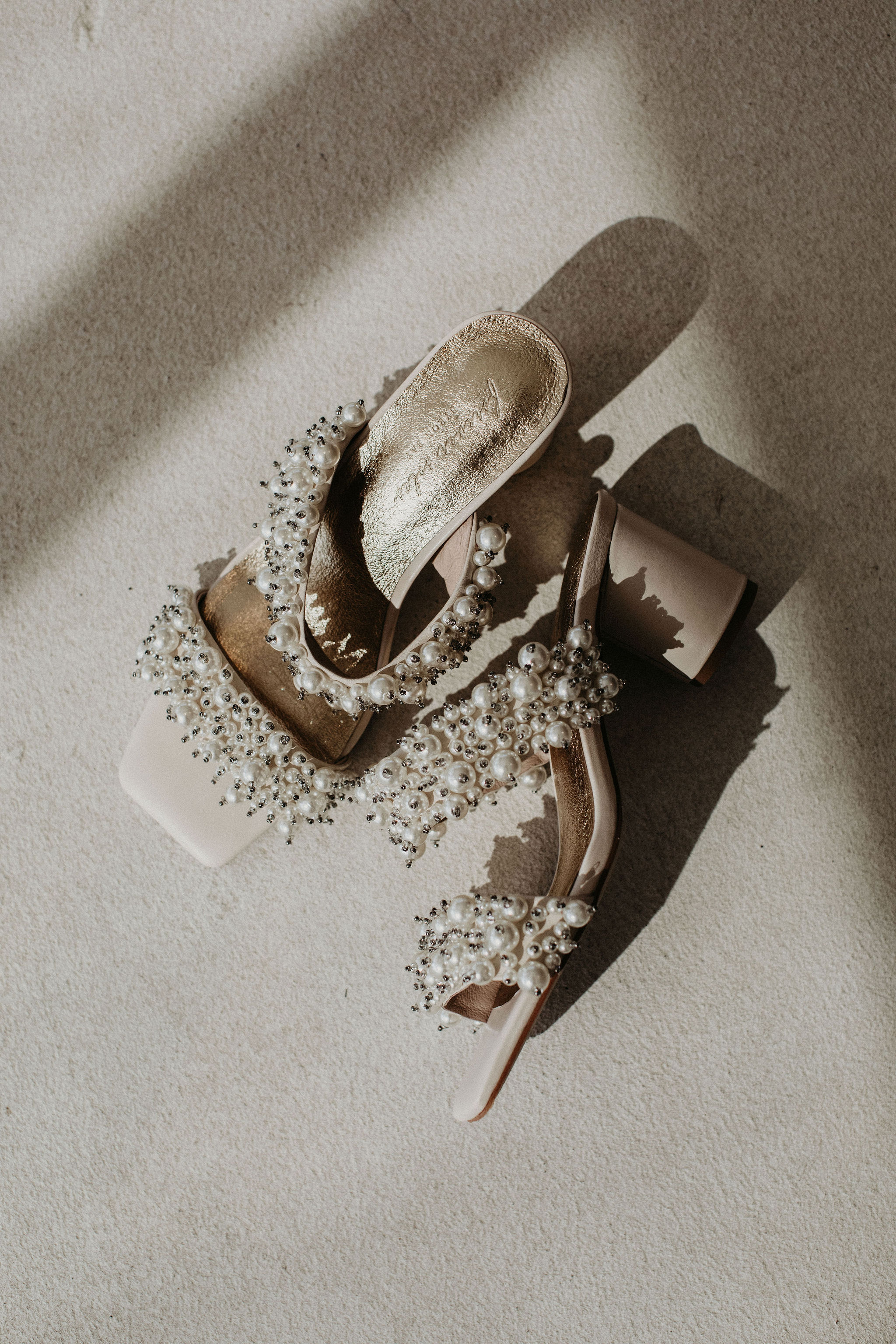 Pearl-Embellished Square Toe Wedding Shoes