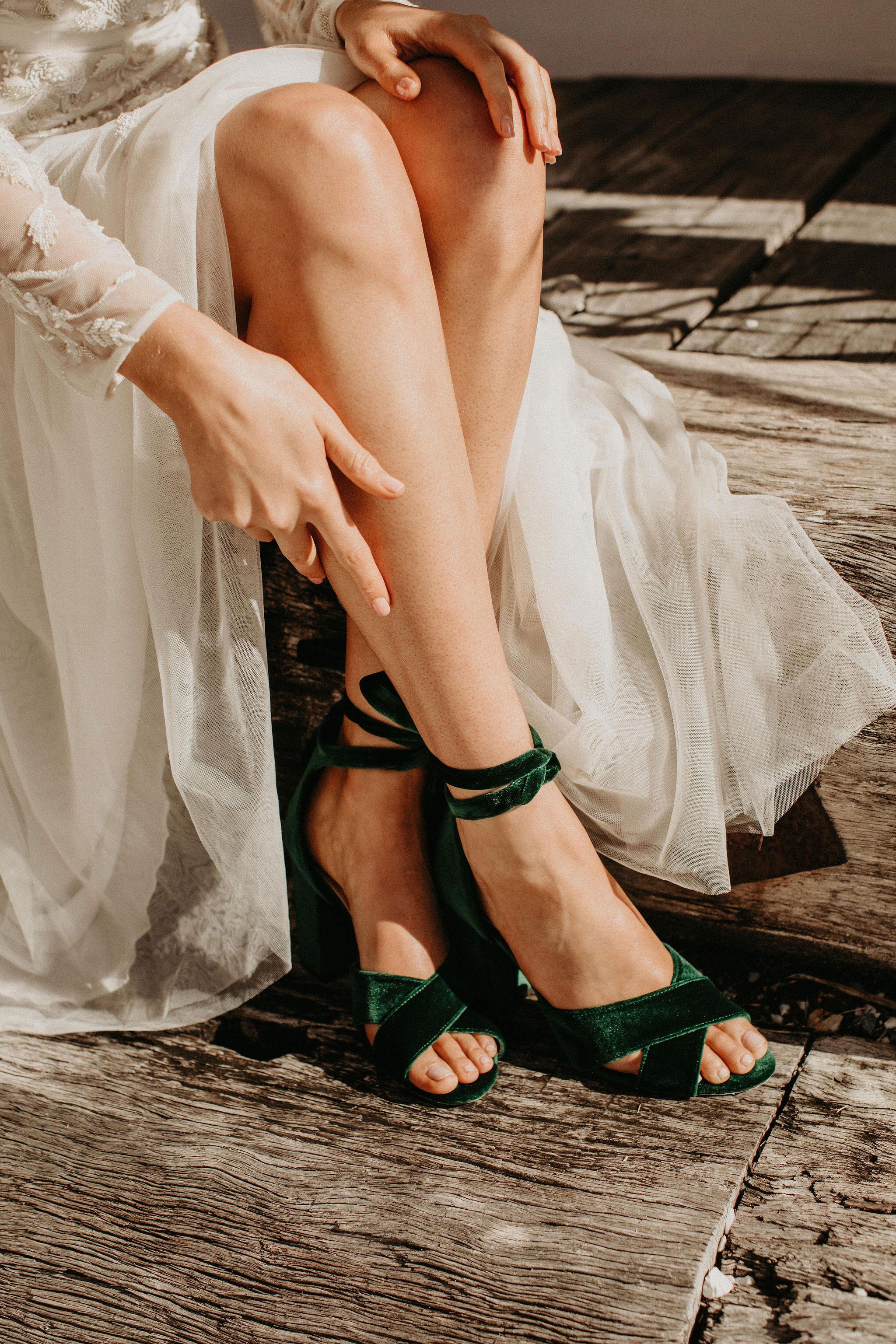 Green Velvet Wedding Shoes by Forever Soles