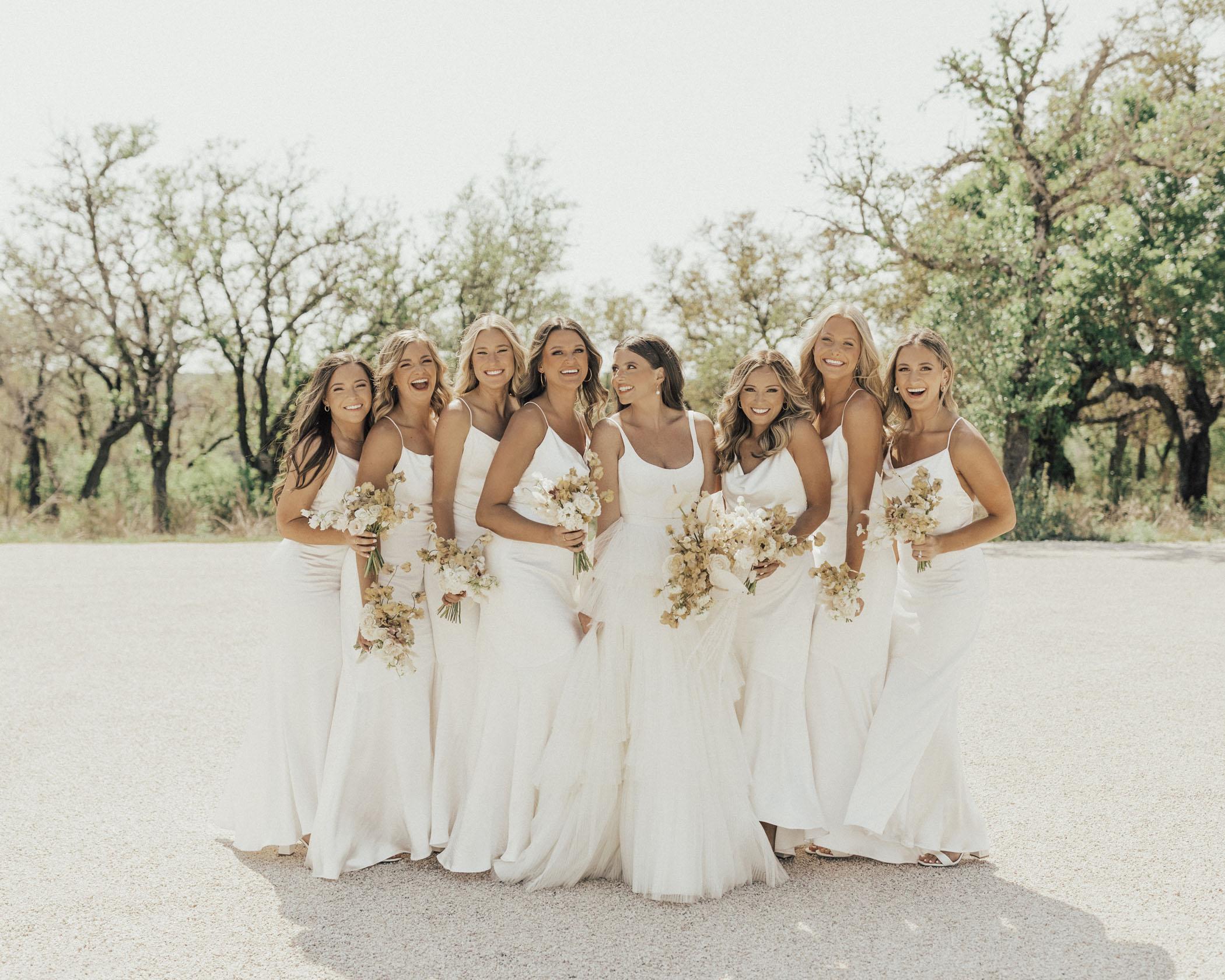 White Bridesmaid Dresses long satin