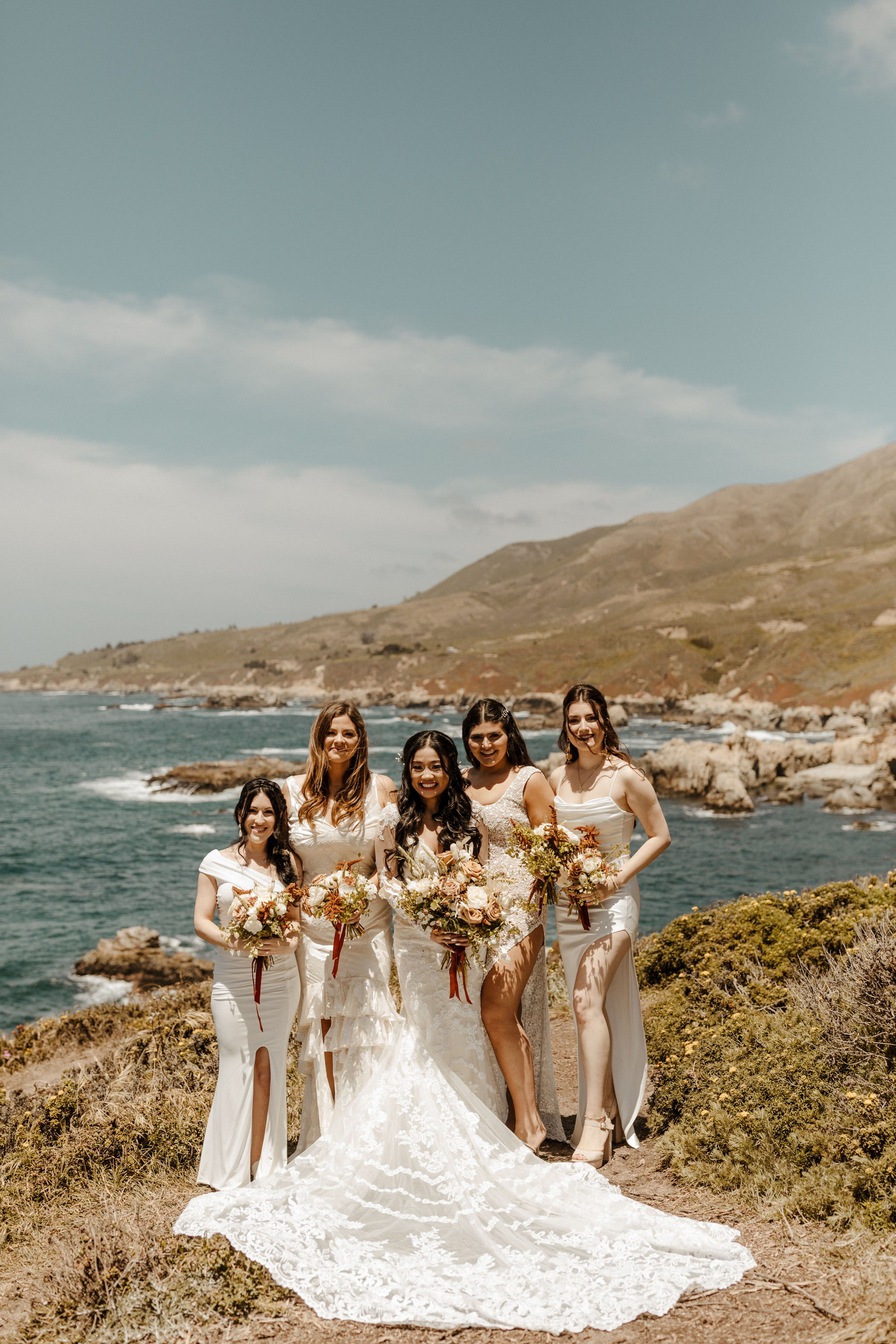 Bridesmaids in White Dresses in Big Sur