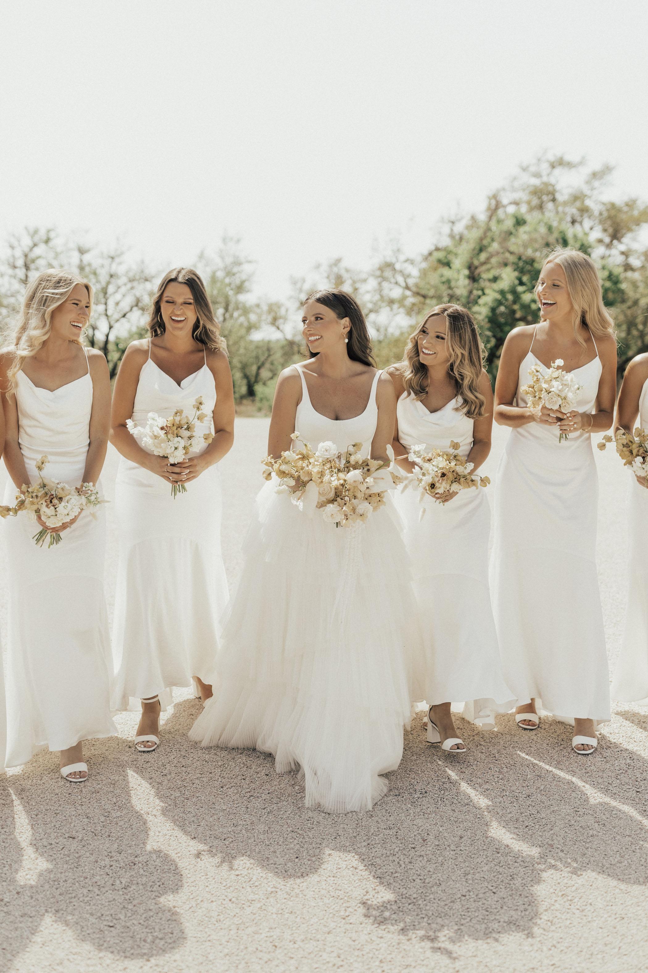 Long Satin White Bridesmaid Dresses