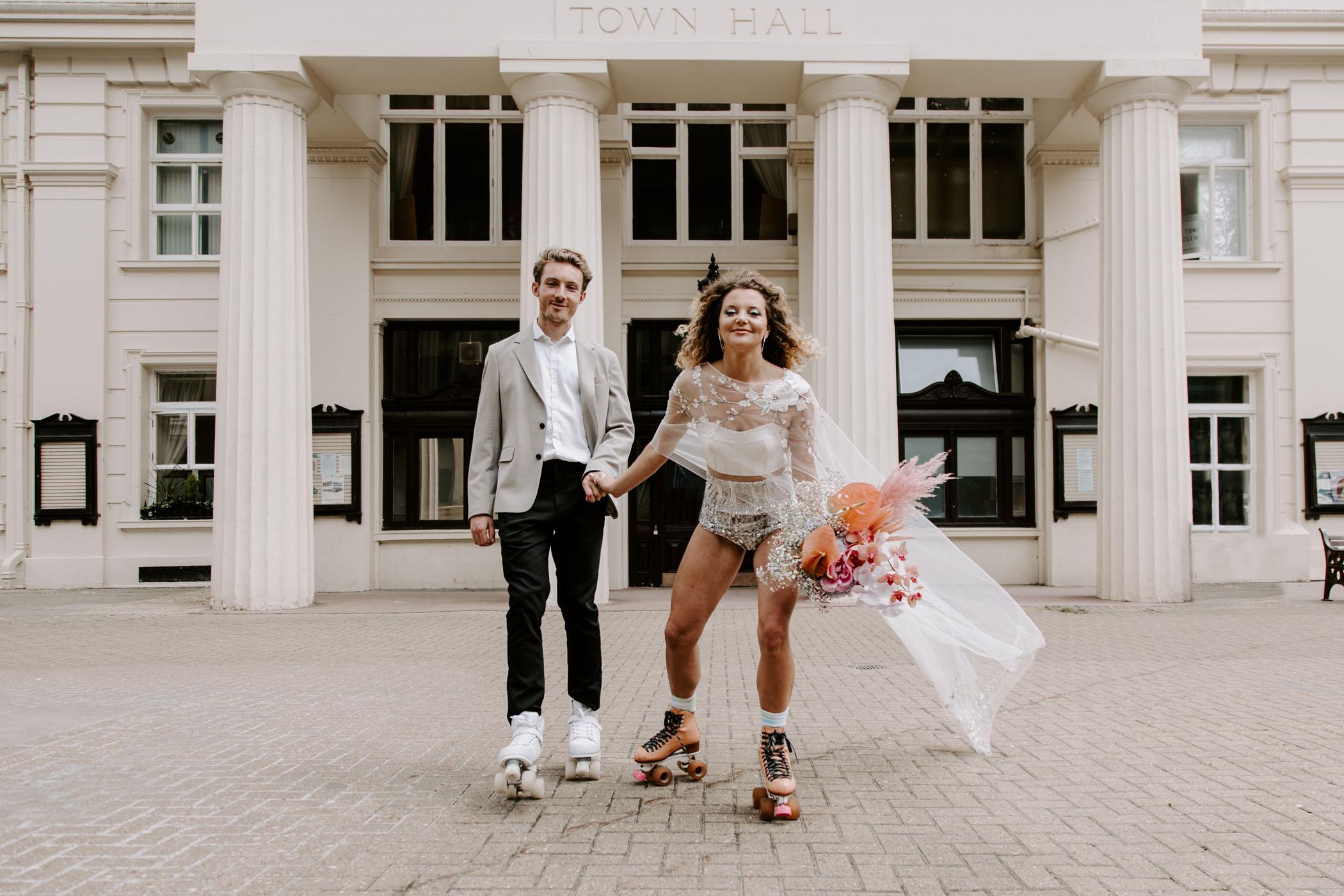 courthouse wedding on roller skates