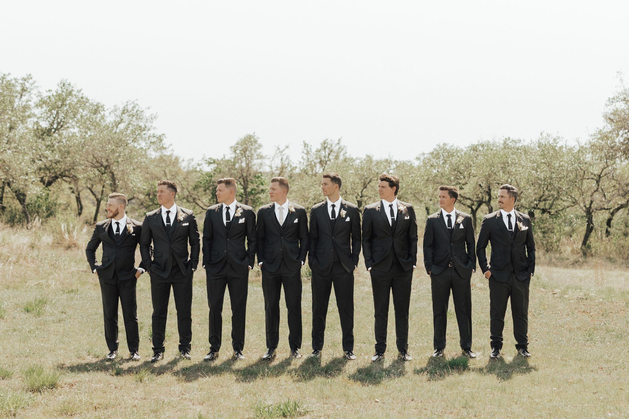 Groomsmen in Black Suits