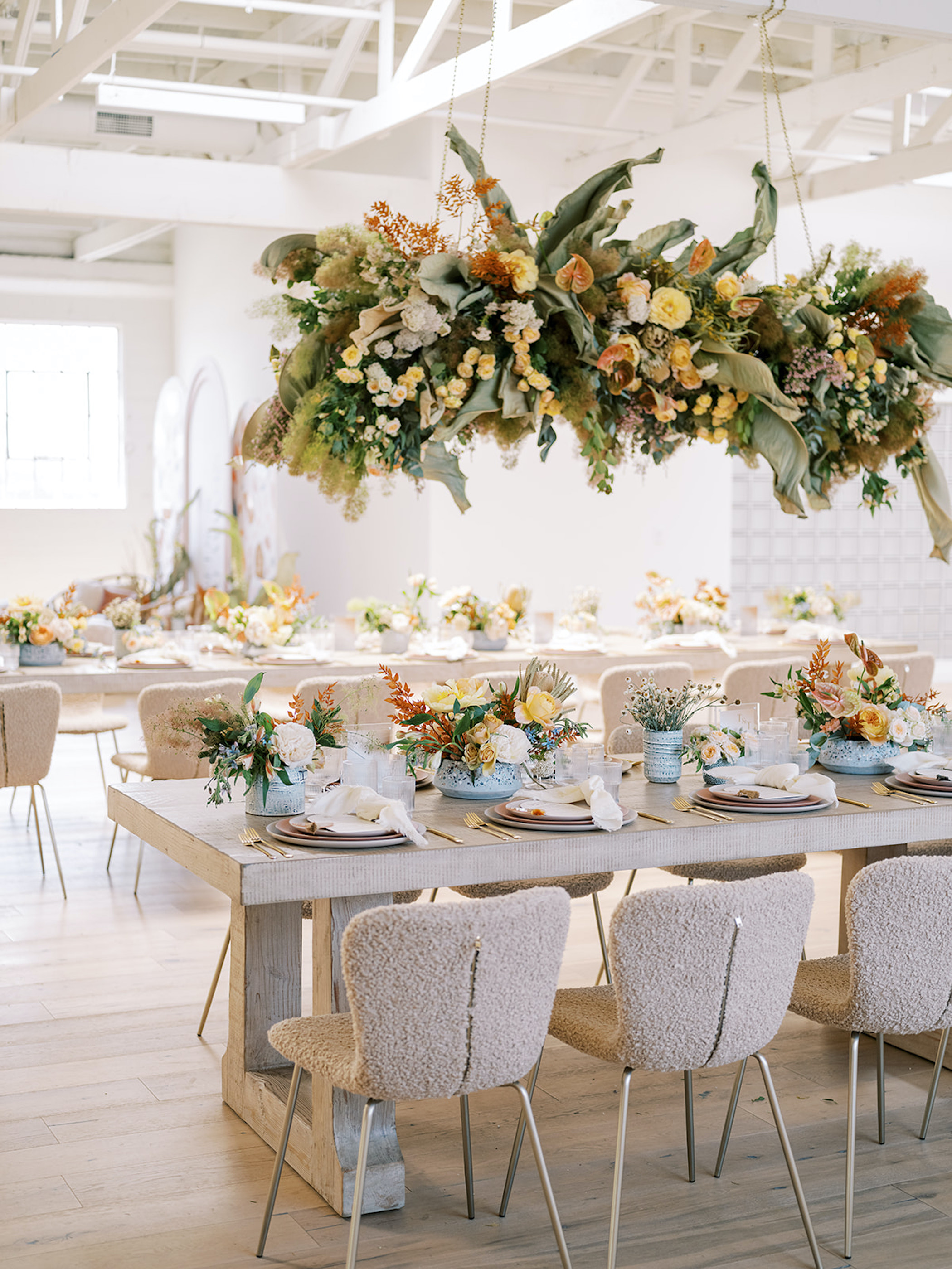 terrazzo party ideas with hanging florals