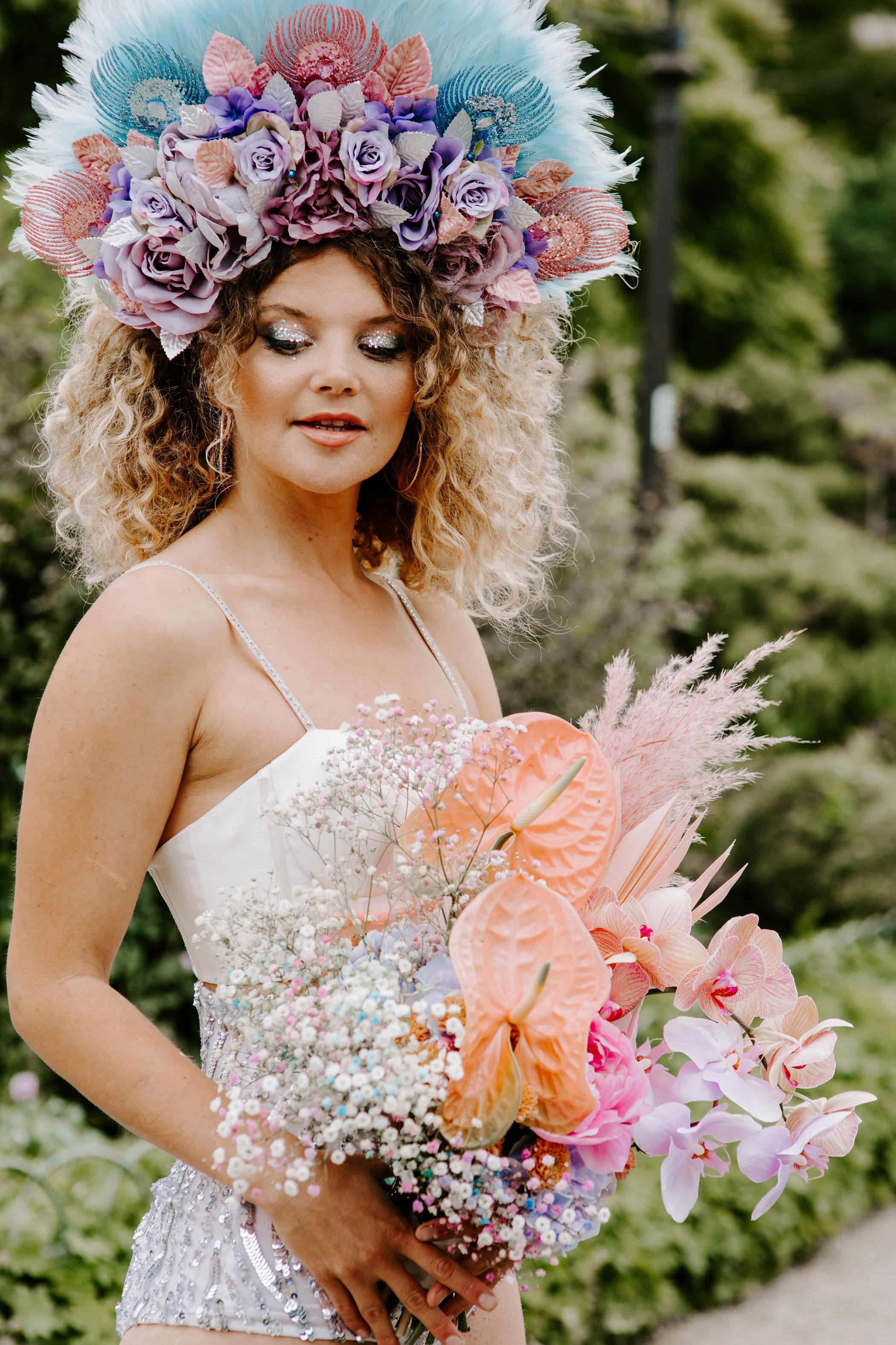 Pastel Floral Headpiece for bride