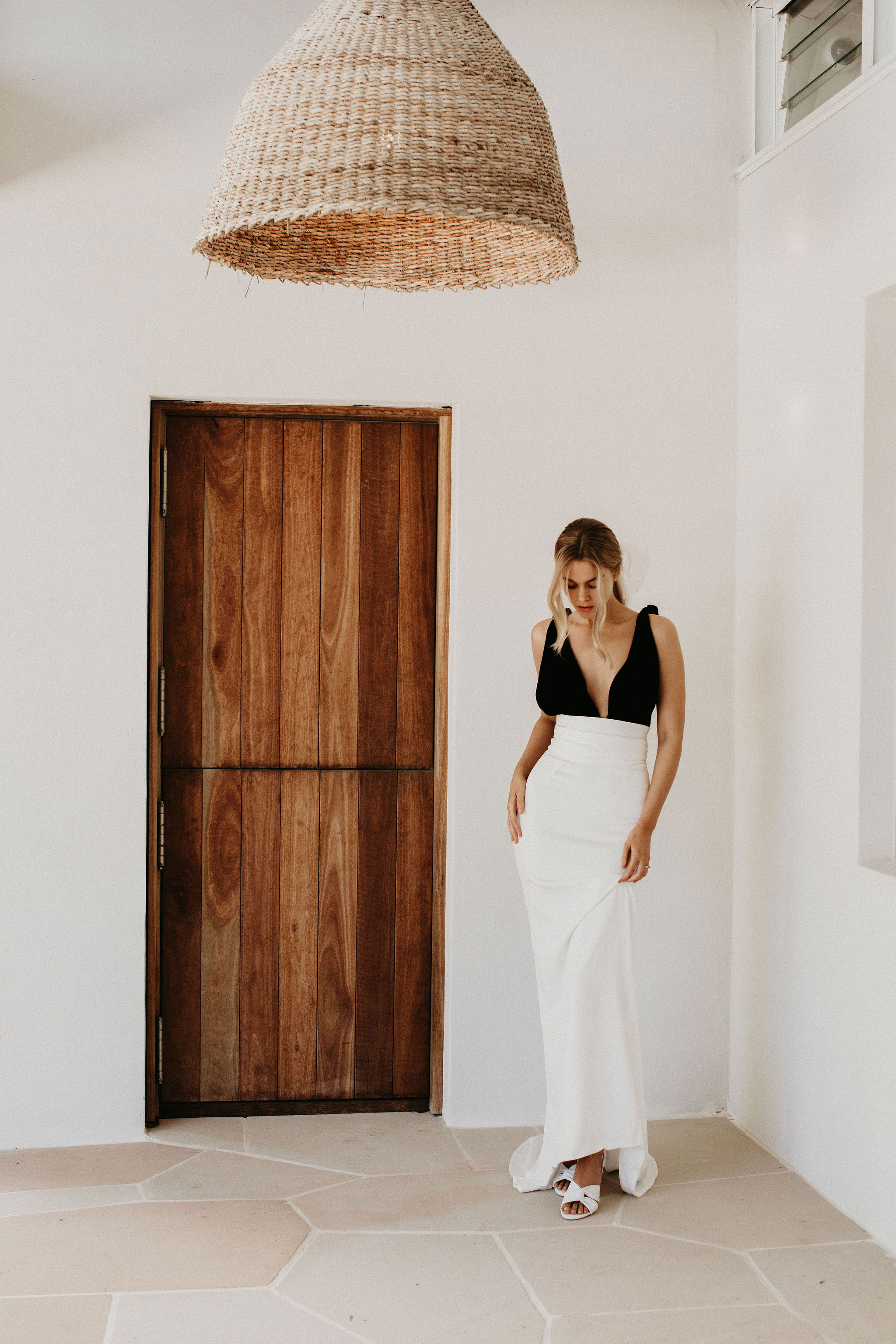Black and White Wedding Dress with White Wedding Shoes