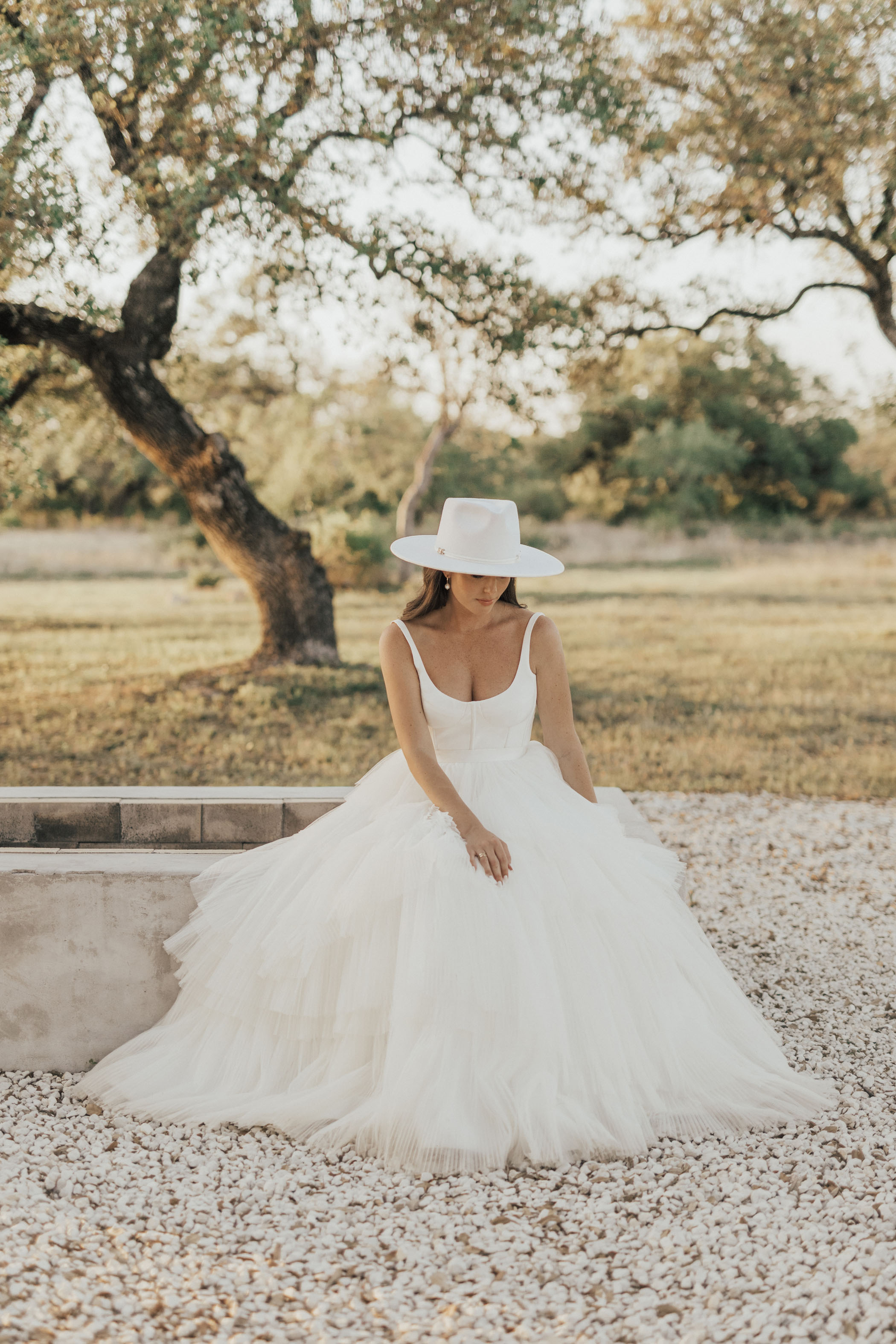 Chic Bridal Hat and Chosen by KYHA Dress