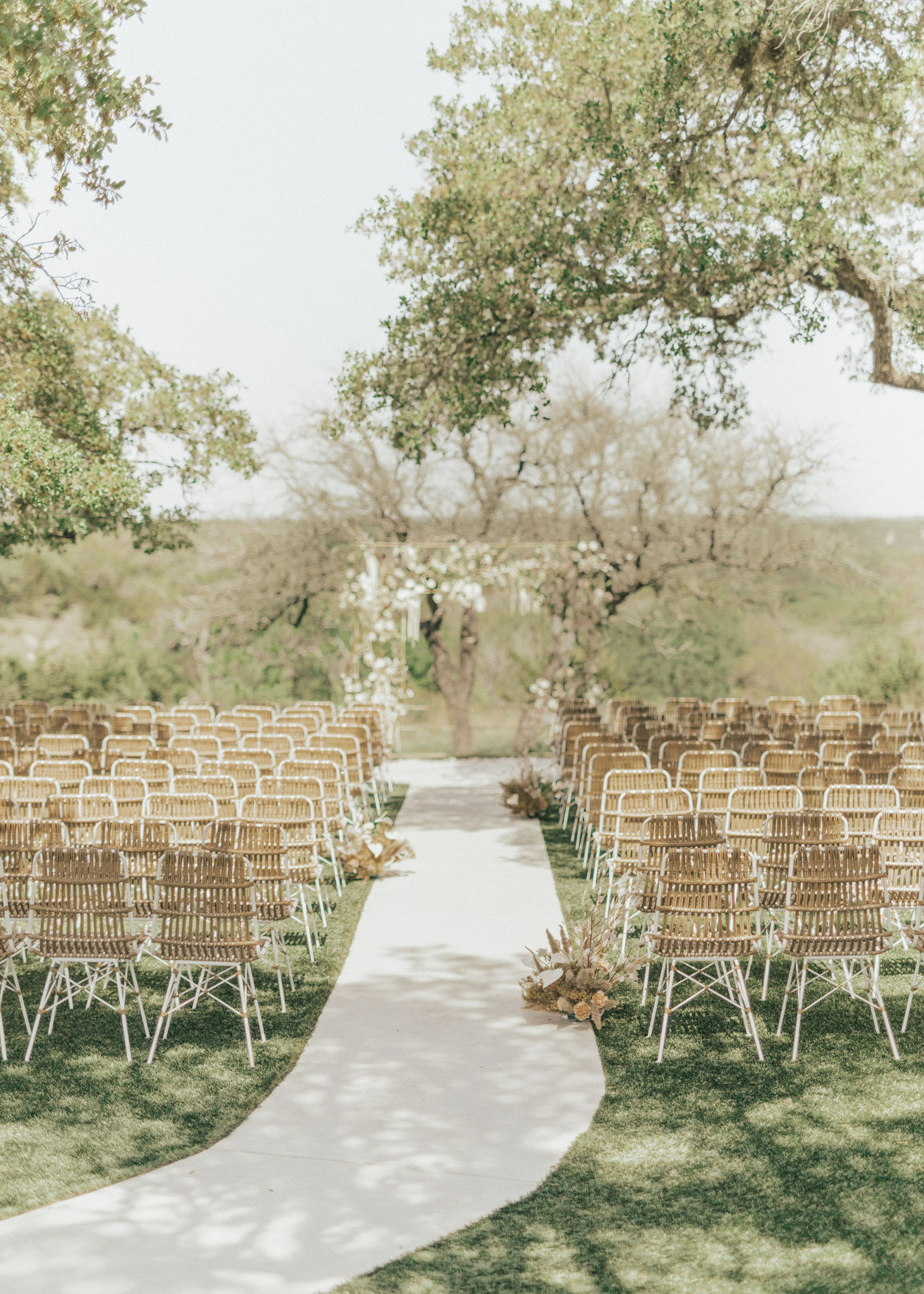 Wedding Ceremony Seating with Neutral Boho Chairs