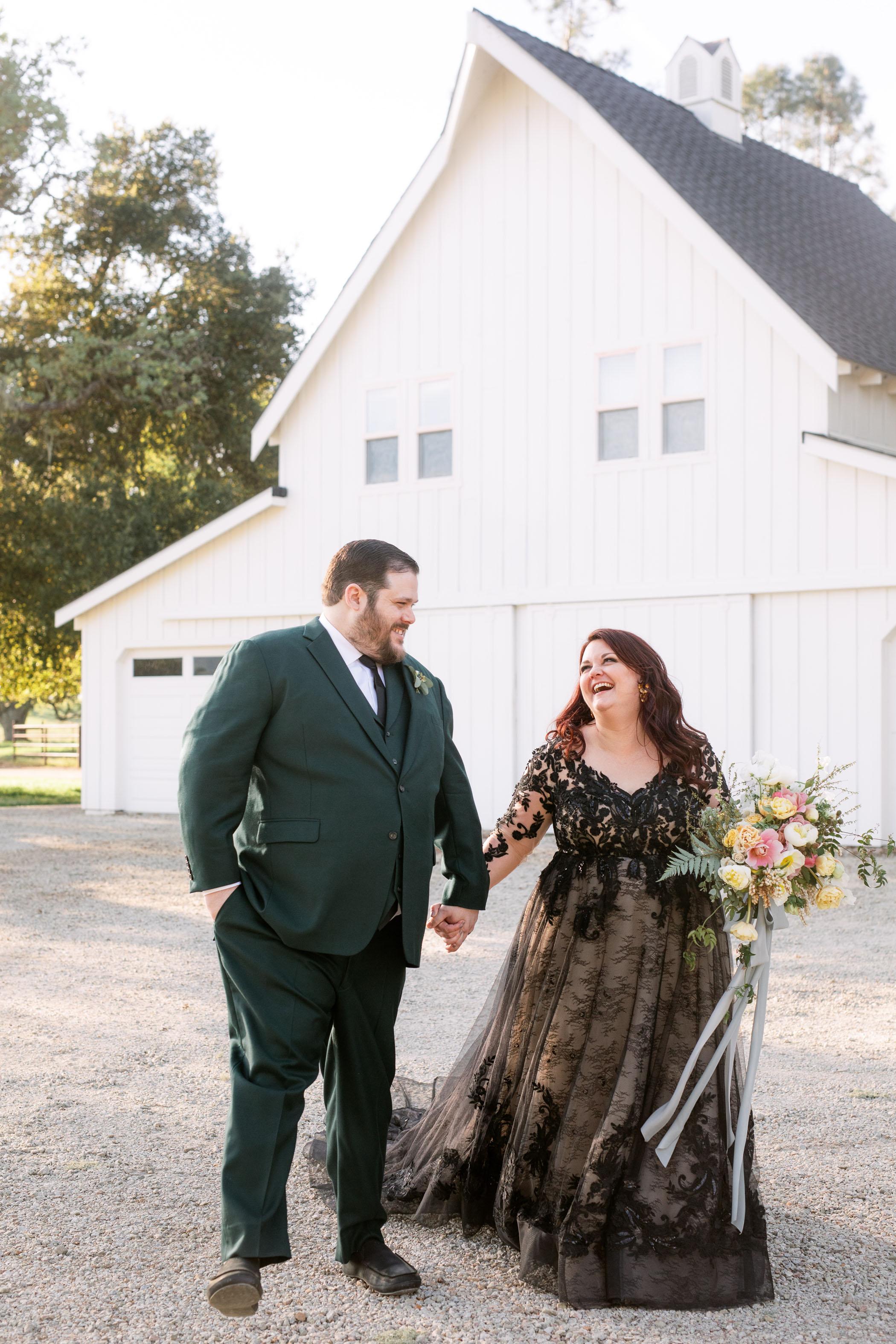 Golden Hour Wedding Portraits in Black Dress