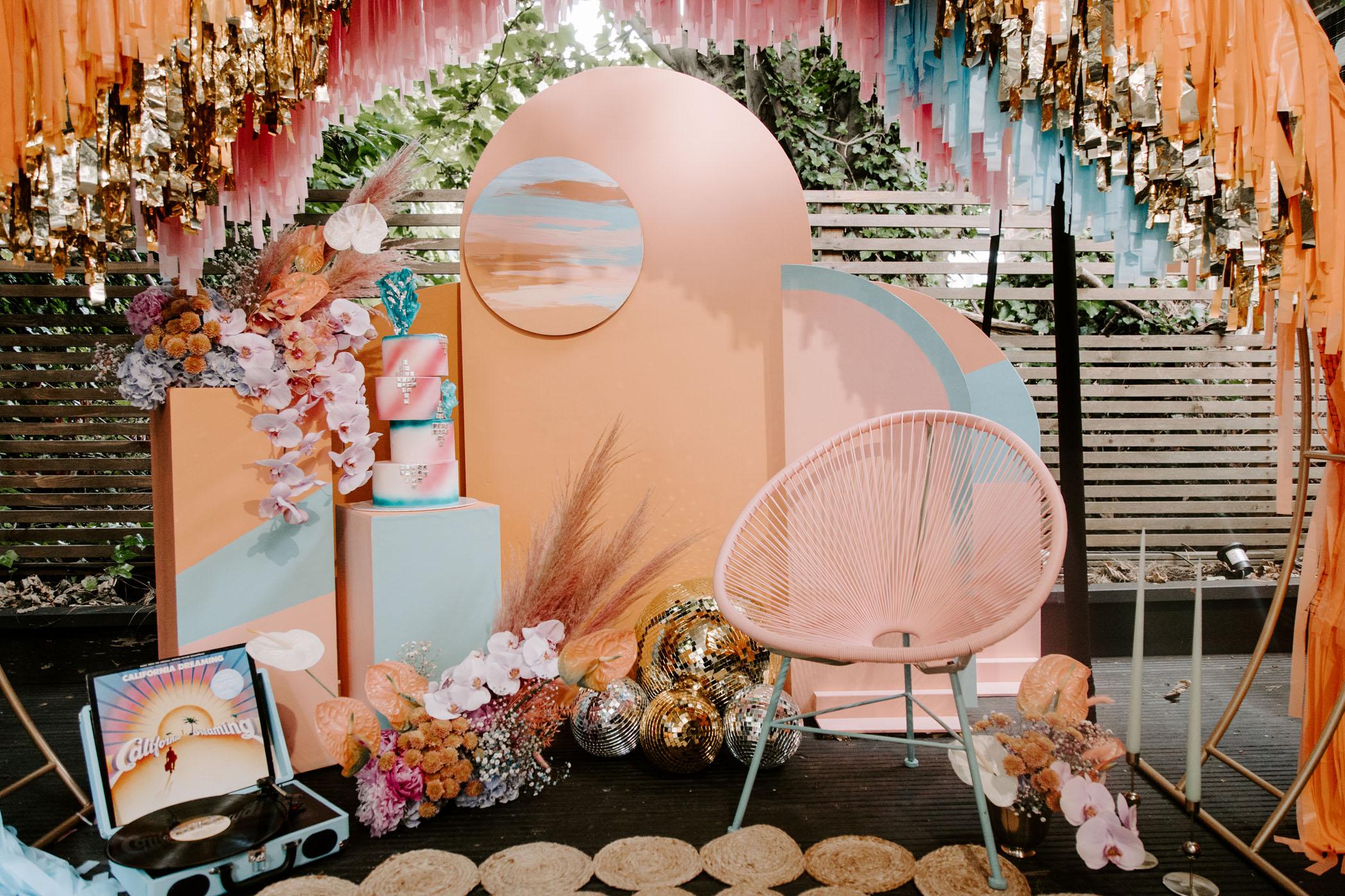 retro roller disco inspired wedding reception