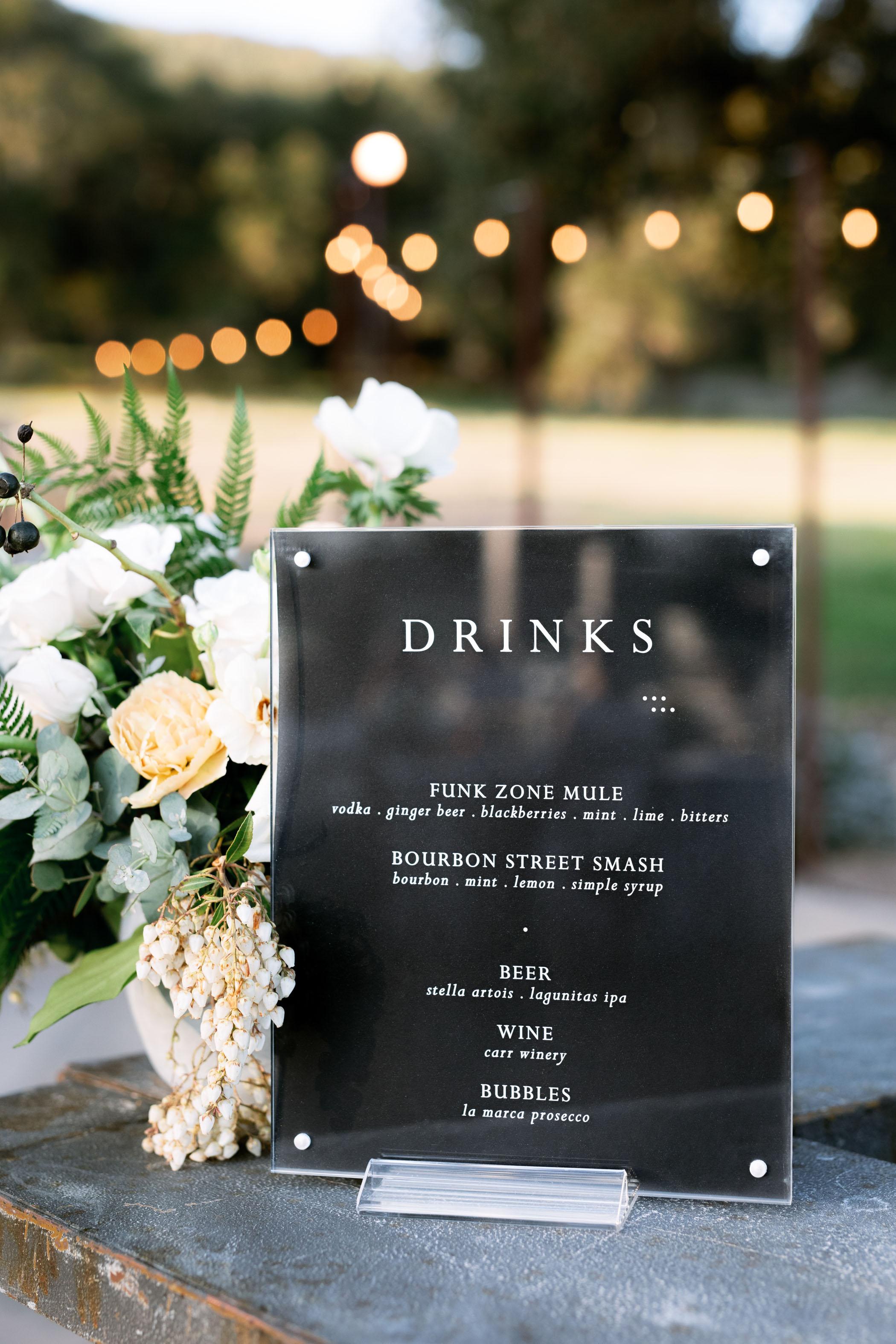 Modern Outdoor Wedding Reception Signage