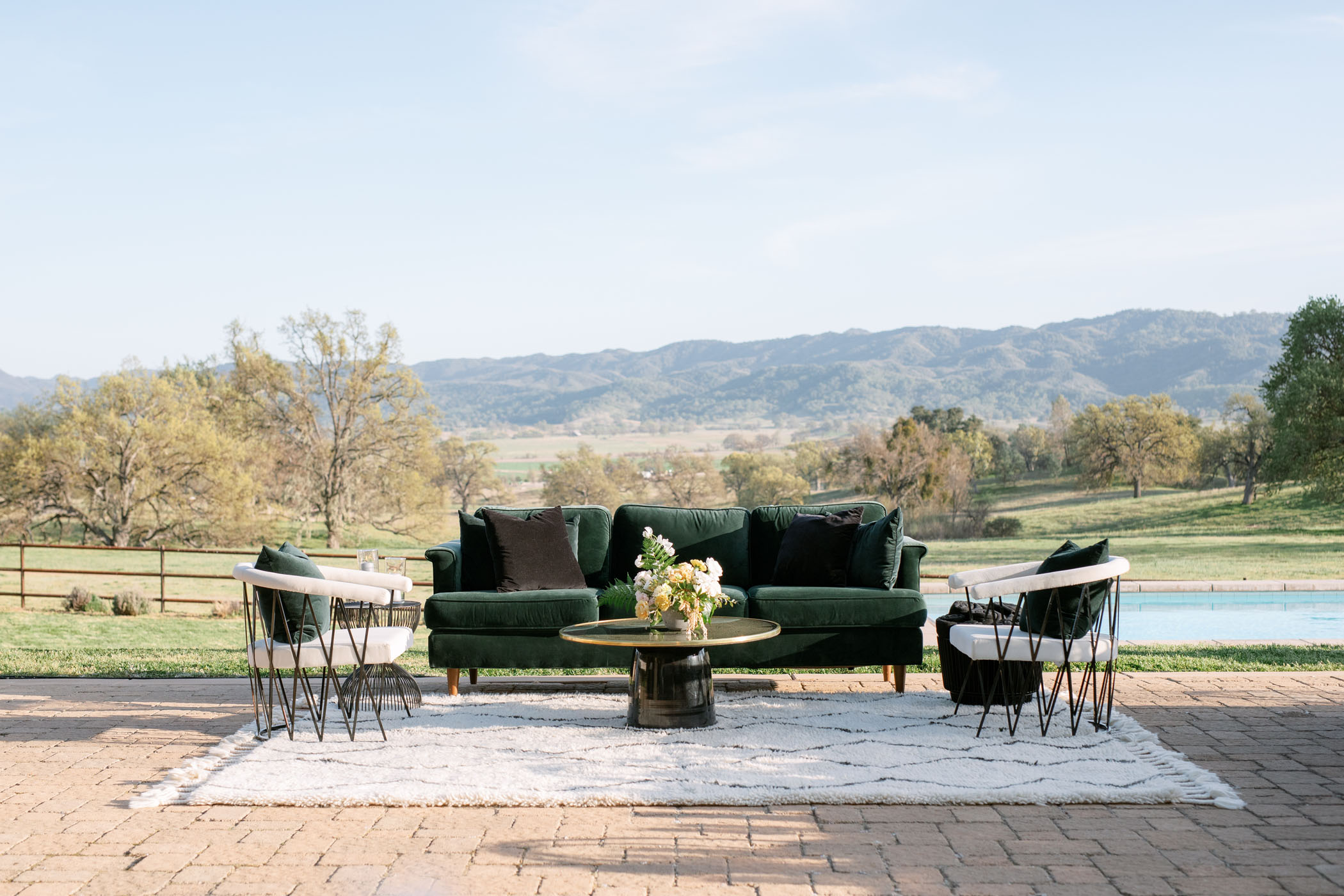 Modern Wedding Lounge with Green Velvet Couch