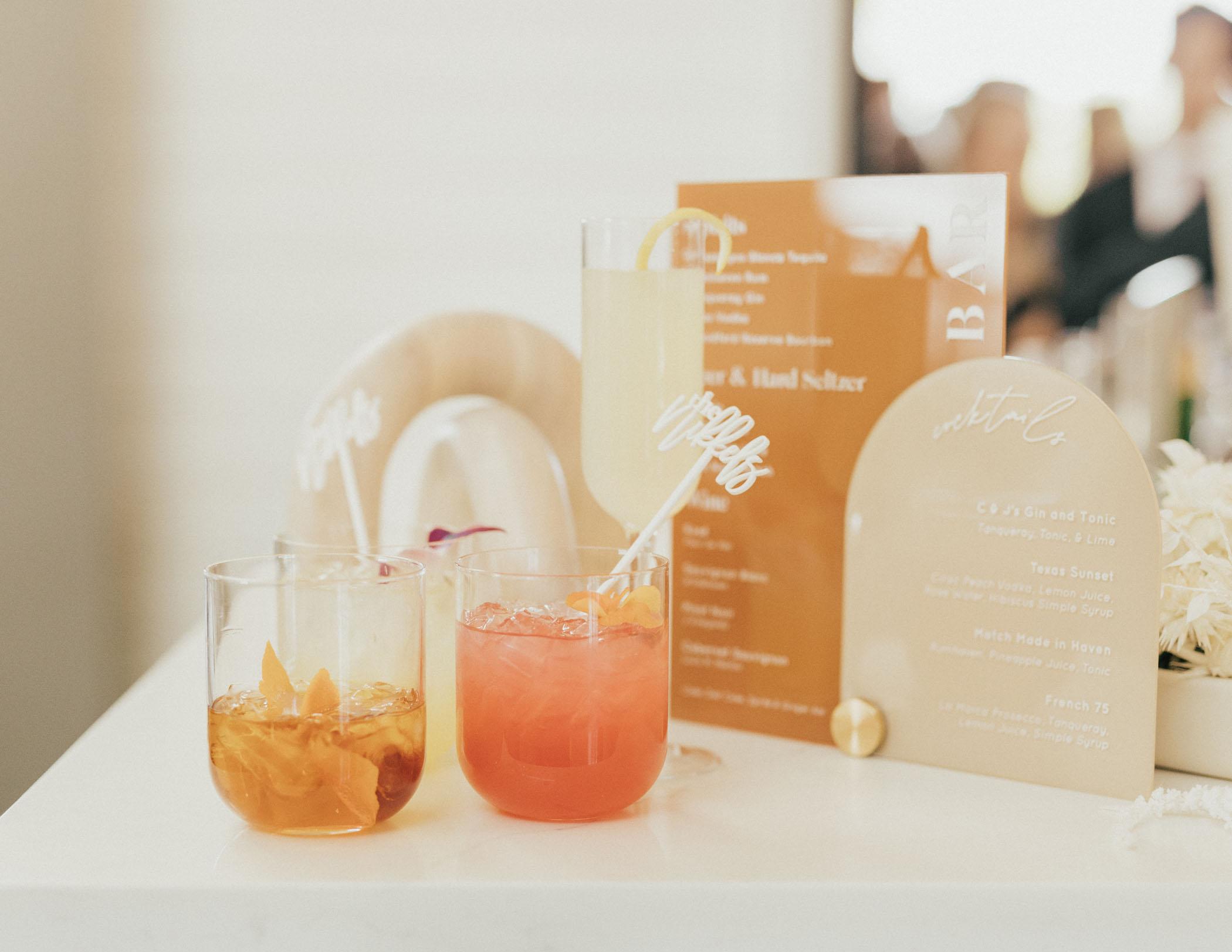 Custom Wedding Cocktails and Boho Menu