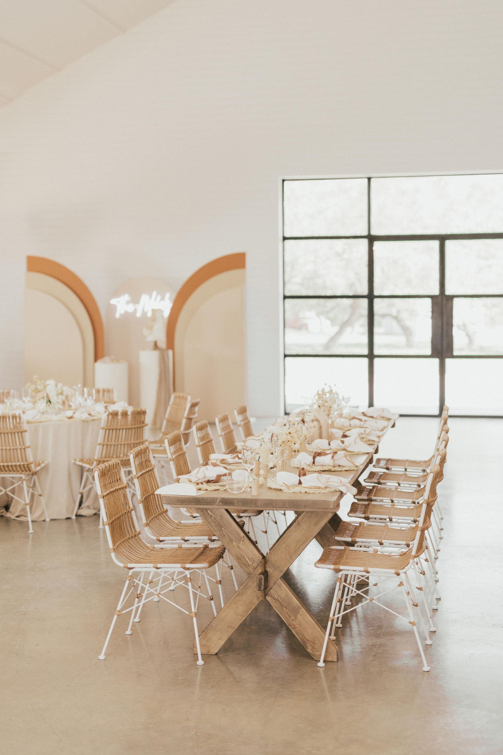 Texas Barn Wedding Reception with Neutral Decor