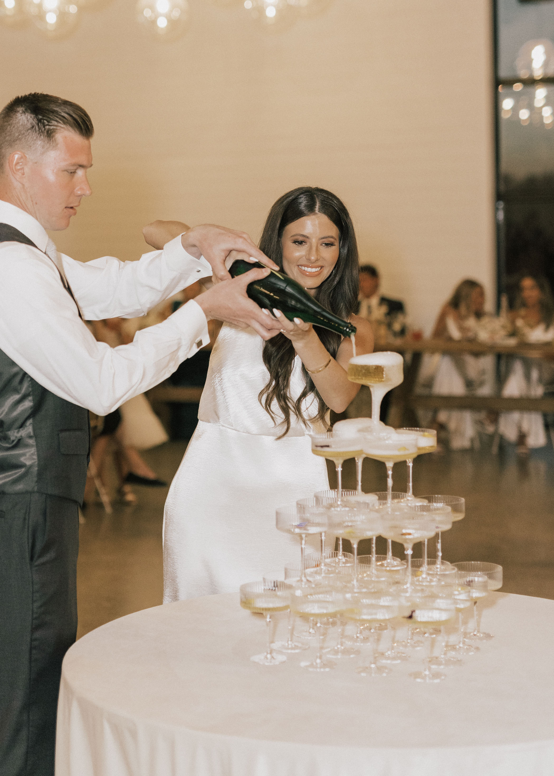 Bride and Groom Wedding Champagne Tower