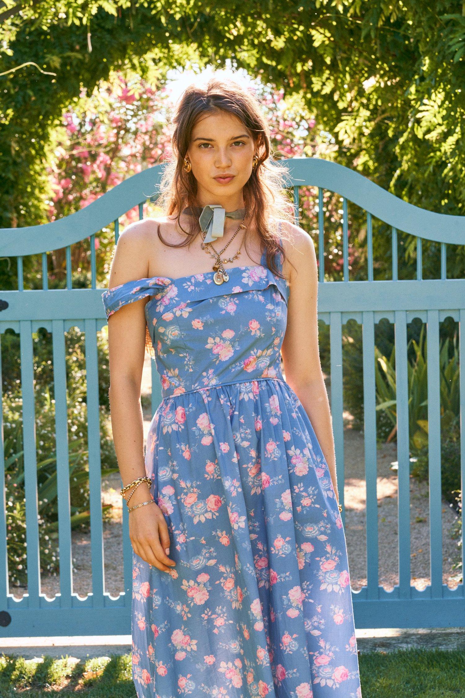 blue floral feminine dress