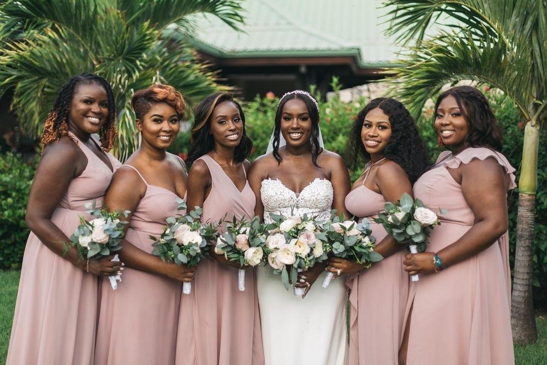 pink mauve bridesmaids