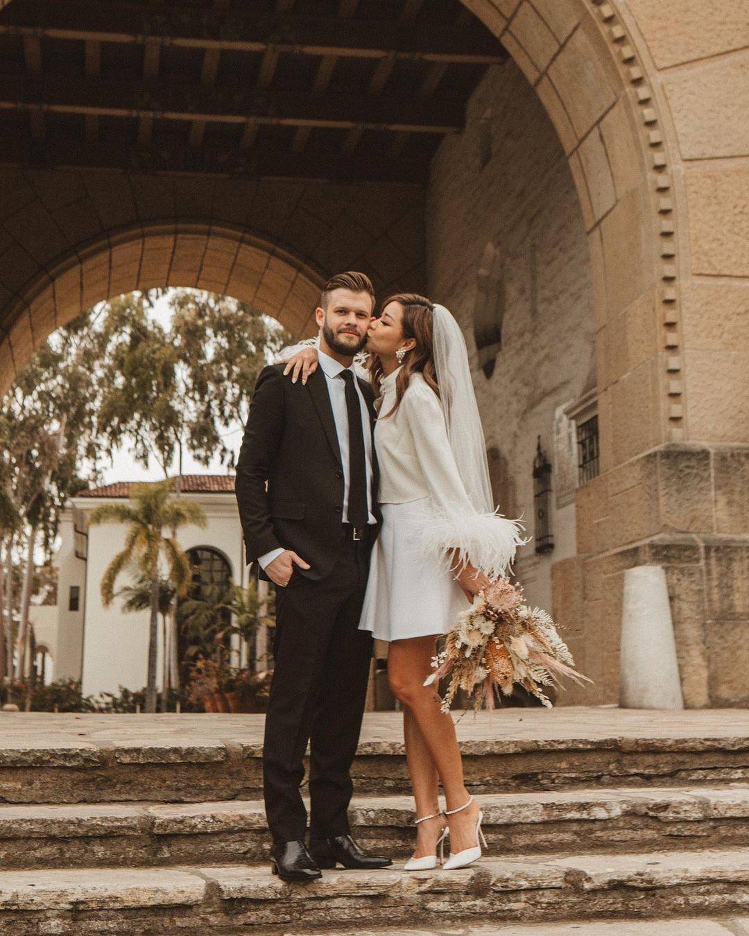 bride wearing cute short civil ceremony wedding dress