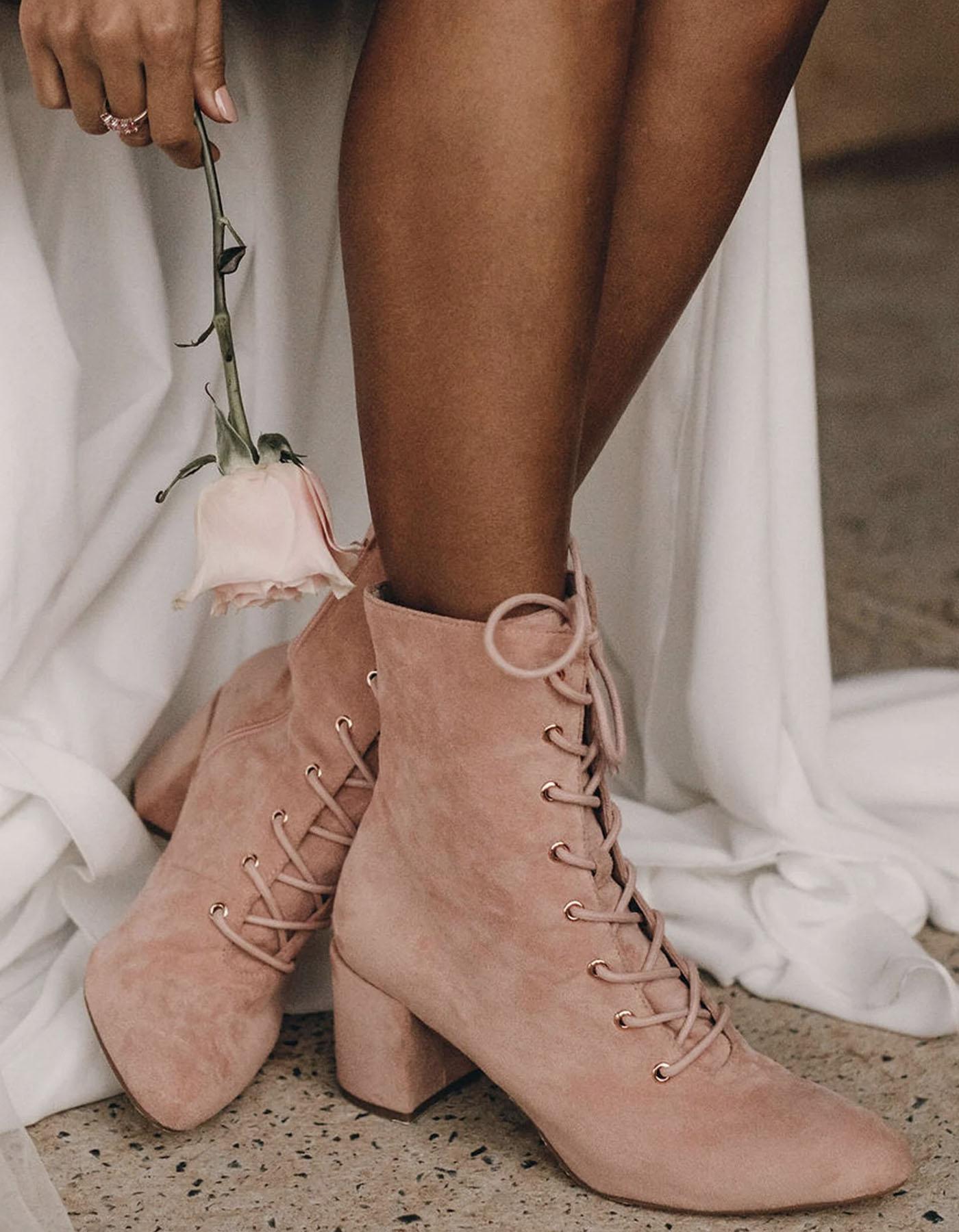 pink wedding boots bootie