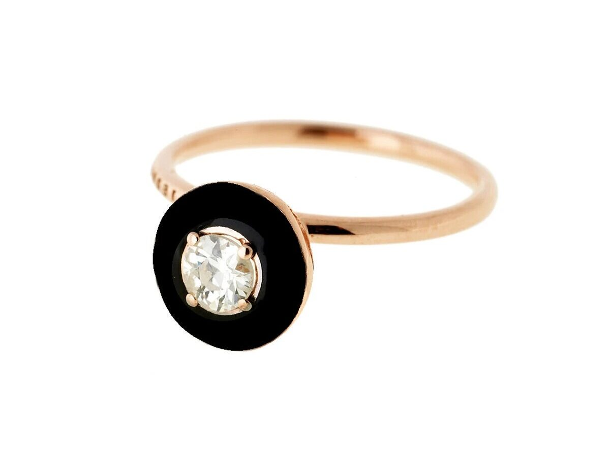 solitaire diamond engagement ring with black enamel halo surround