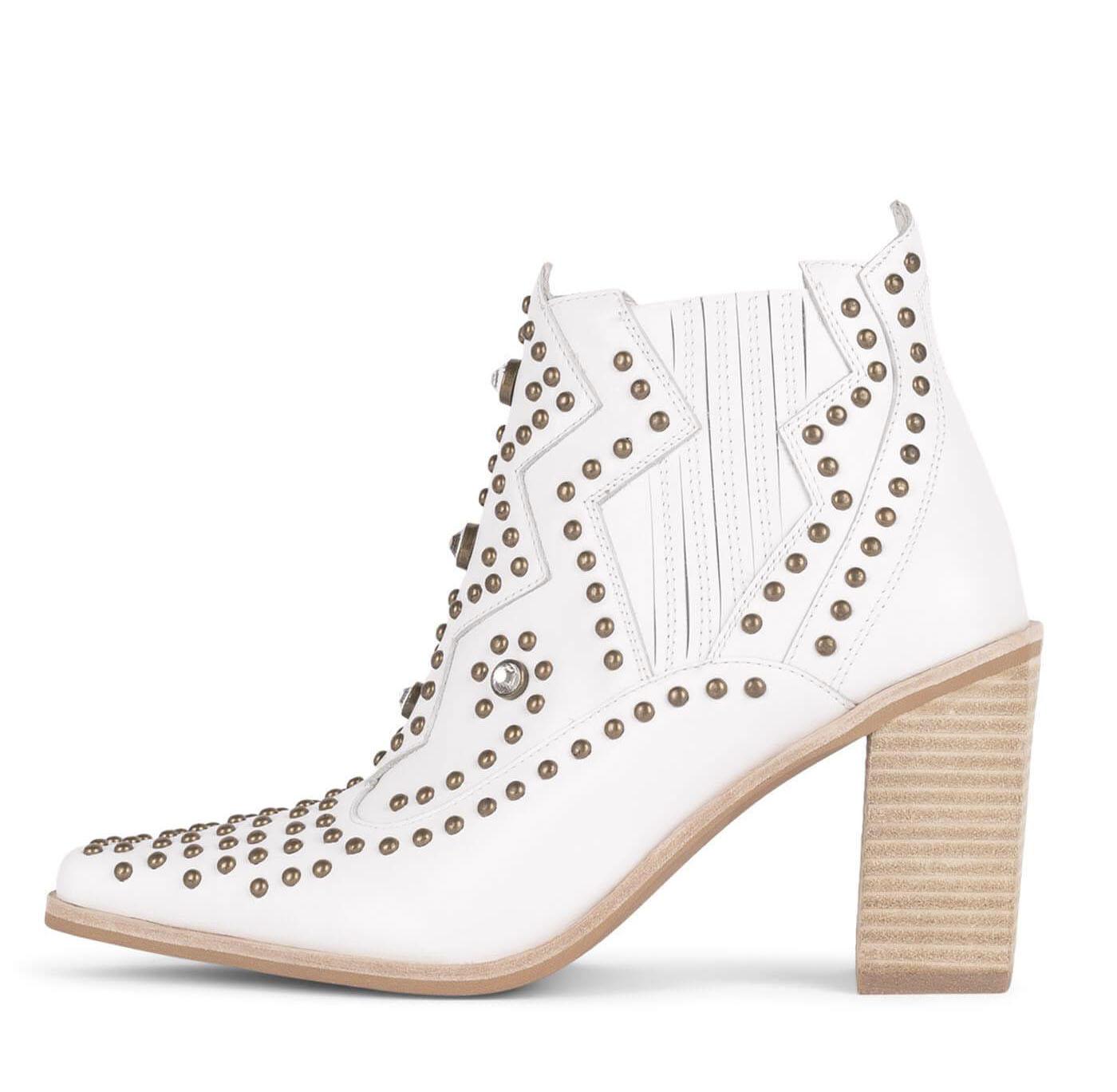 white embellished wedding booties