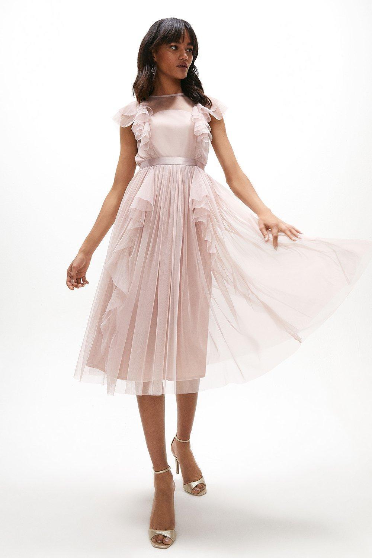 ruffle mesh midi pink dress