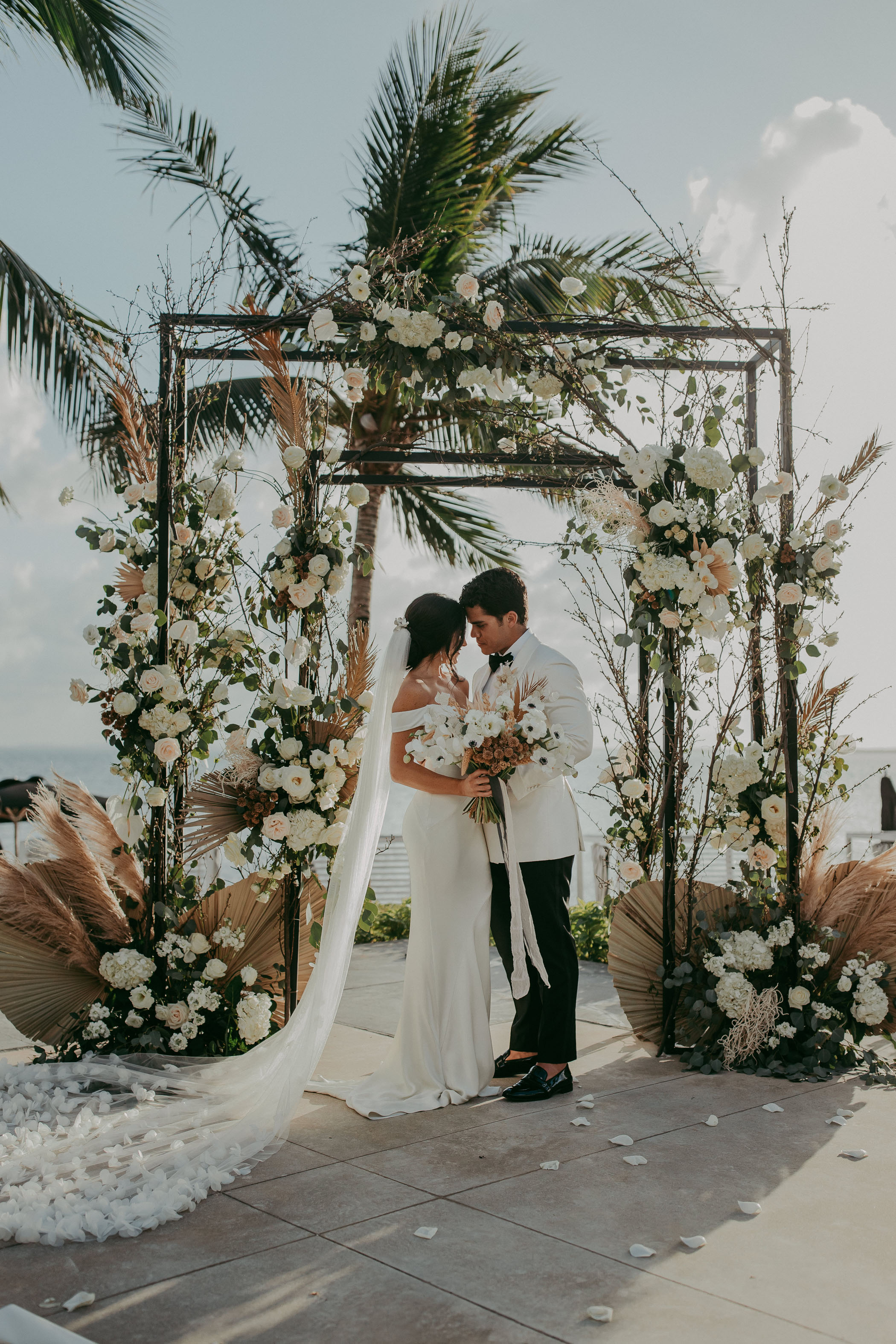 Modern floral ceremony arch