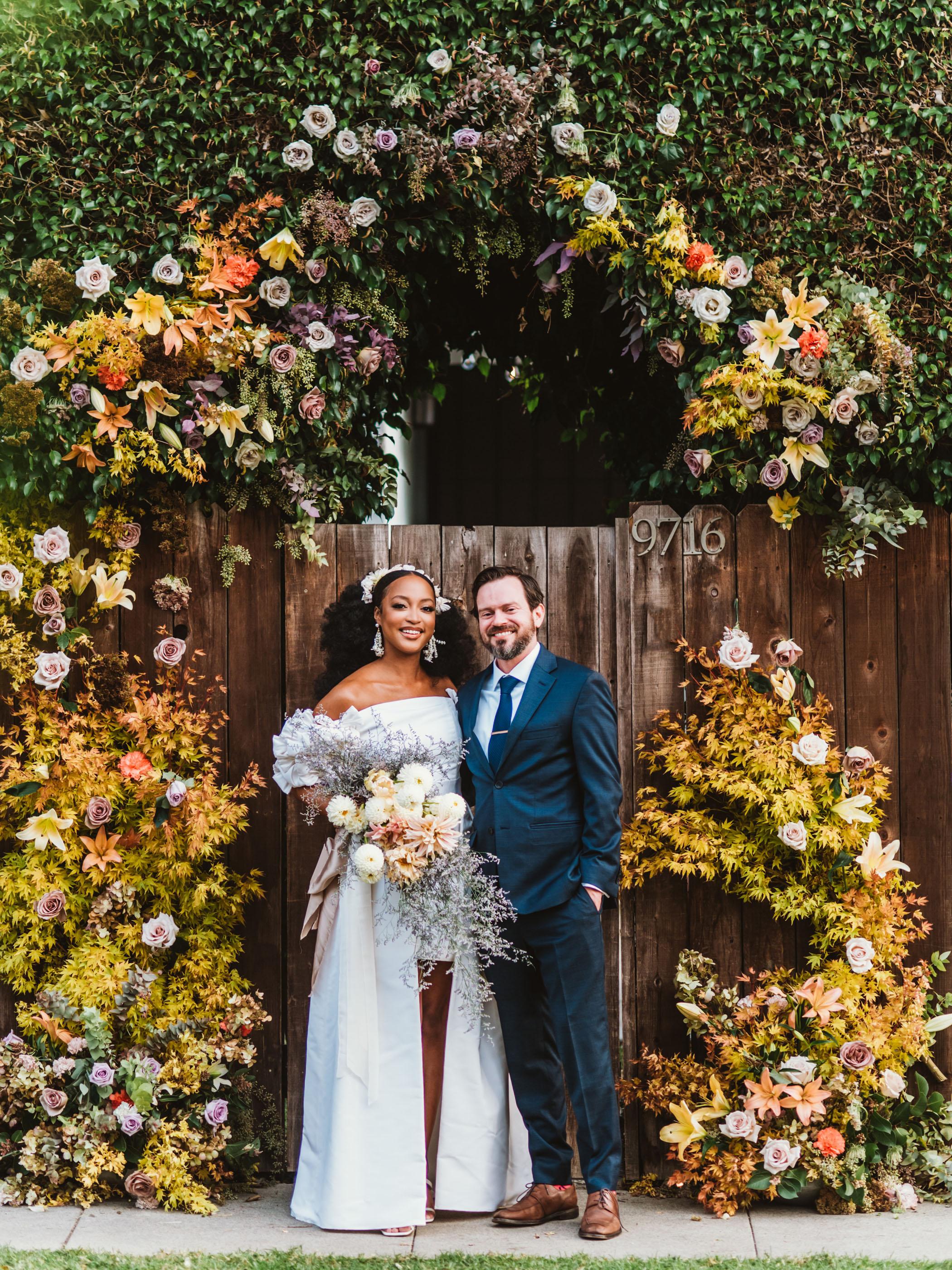 Colorful backyard garden wedding