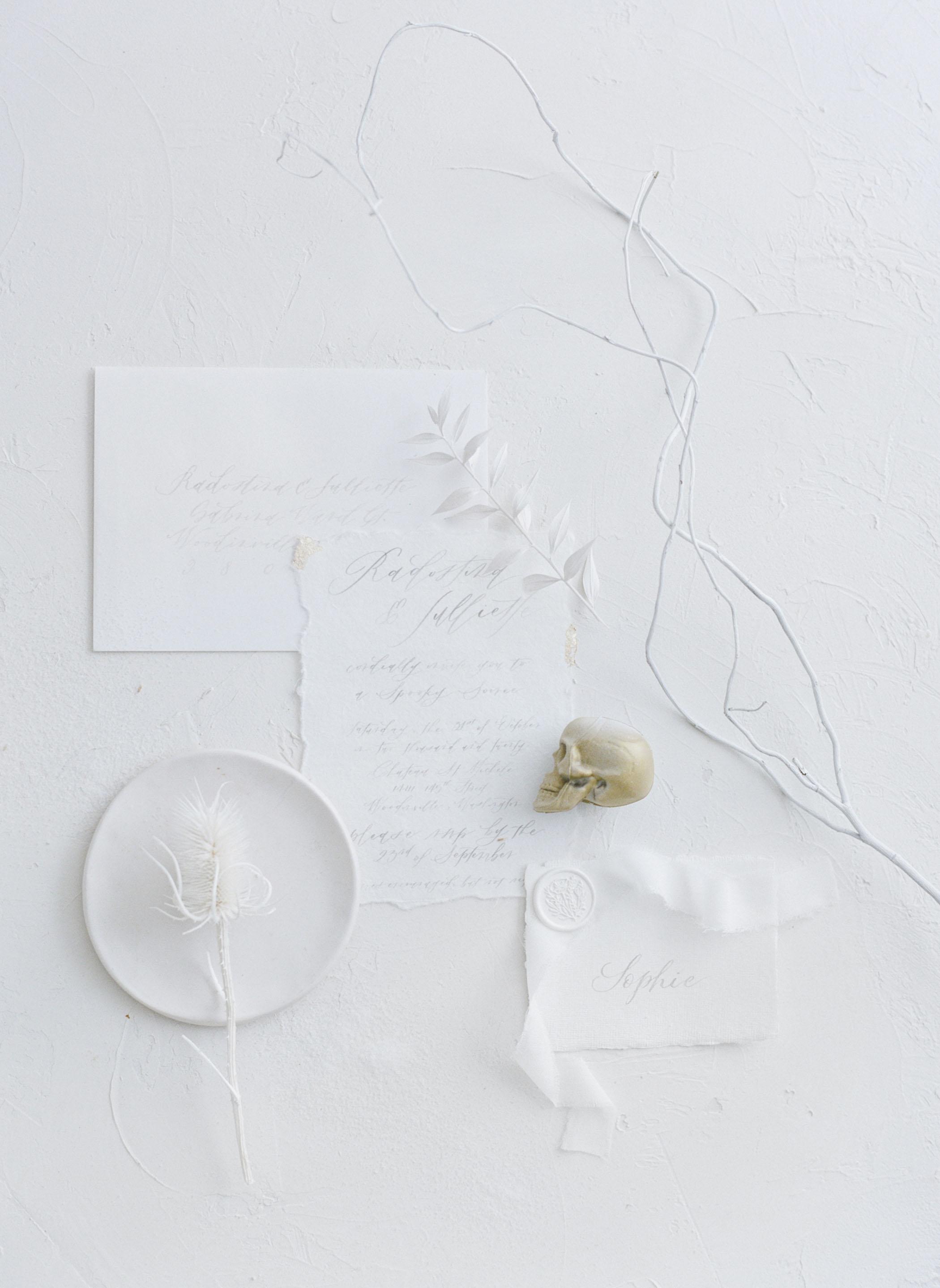 White Halloween Themed Invitation Suite