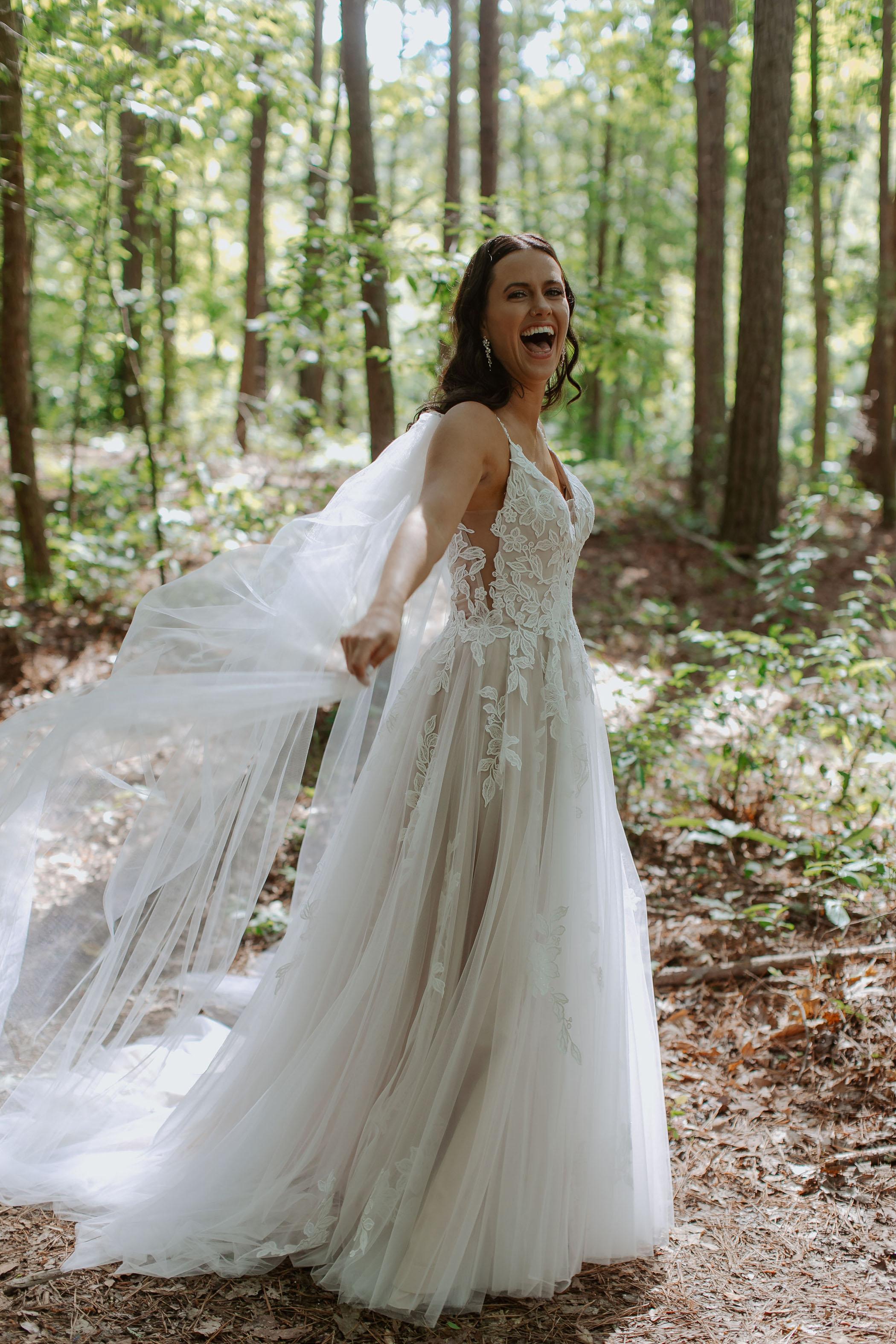 backless watteau wedding dress