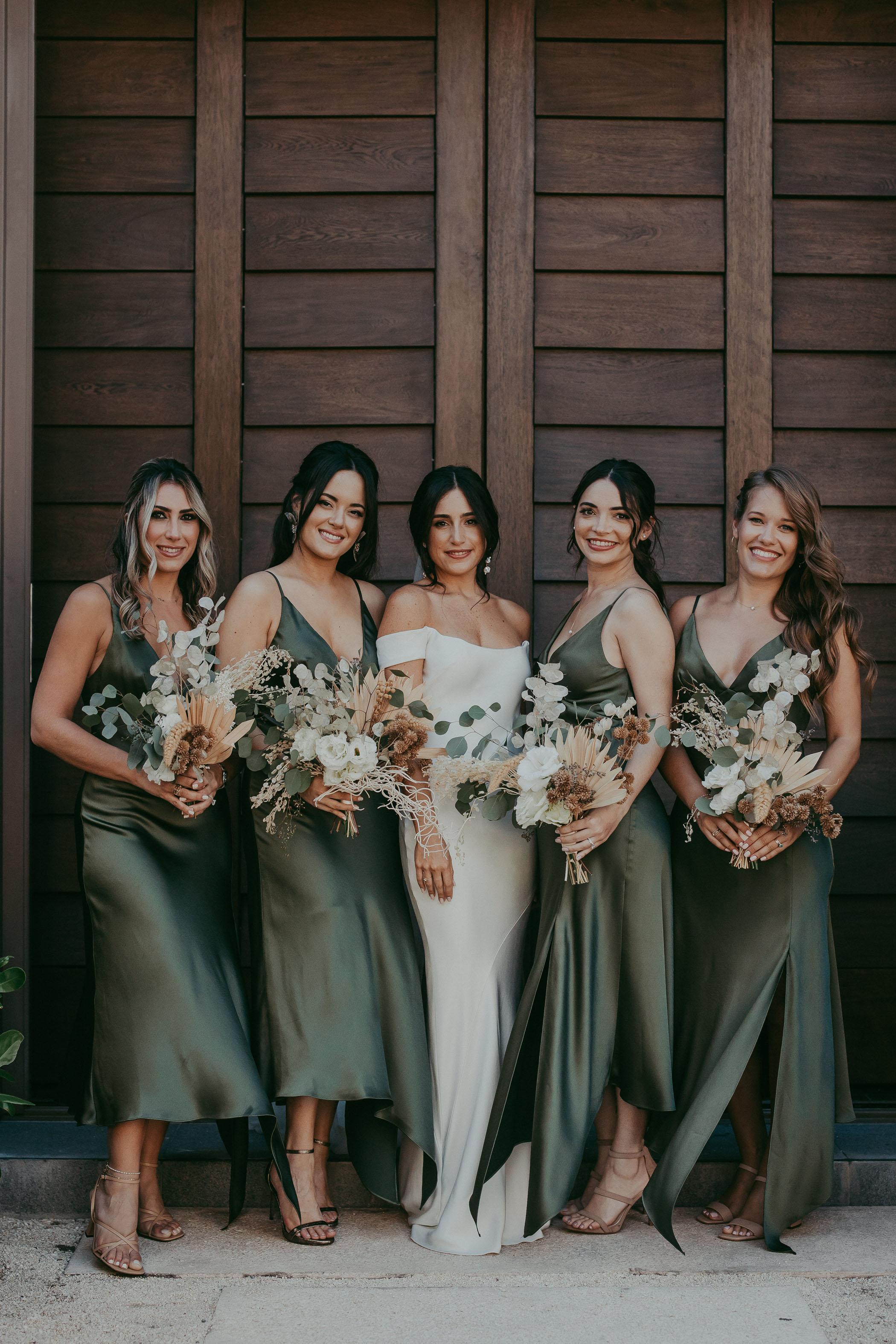 Green Satin Bridesmaid Dresses