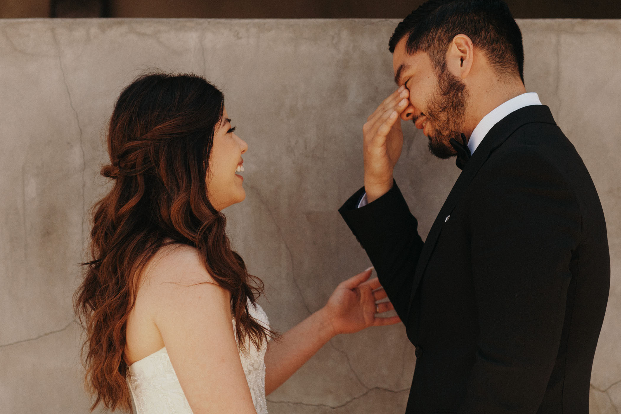 Groom tears up seeing his bride for the first time