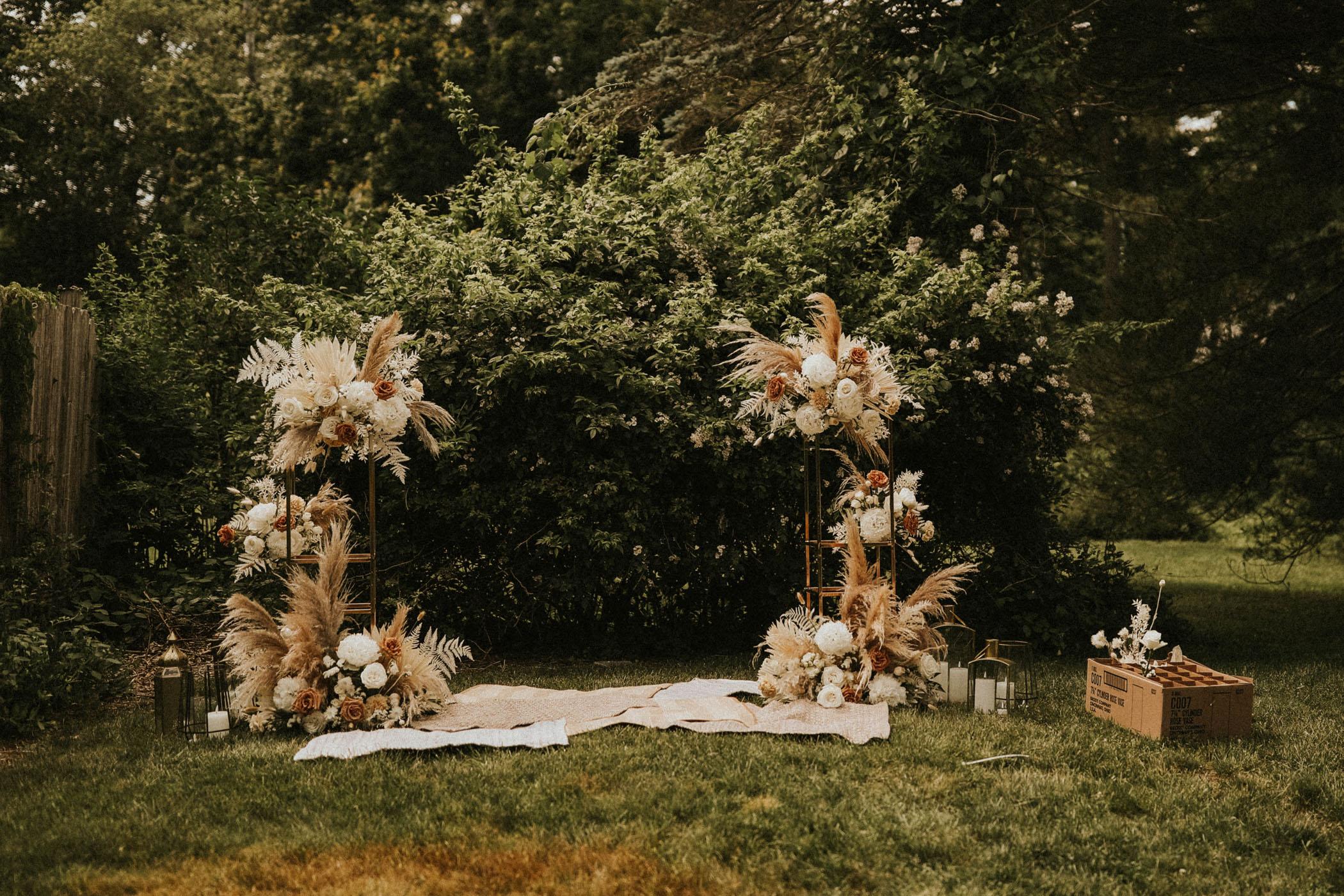Modern open concept wedding ceremony setup