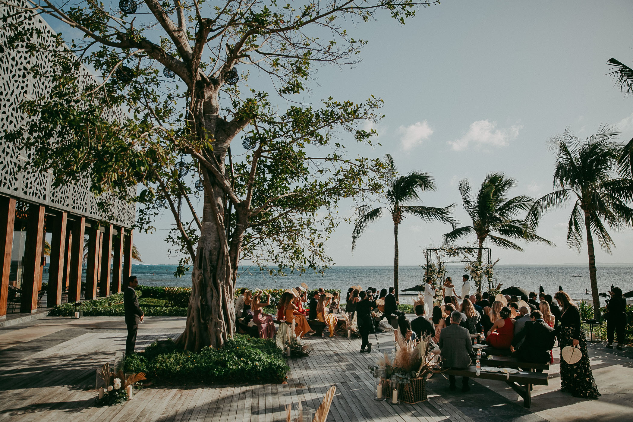 Ocean view of a Cancun wedding ceremony