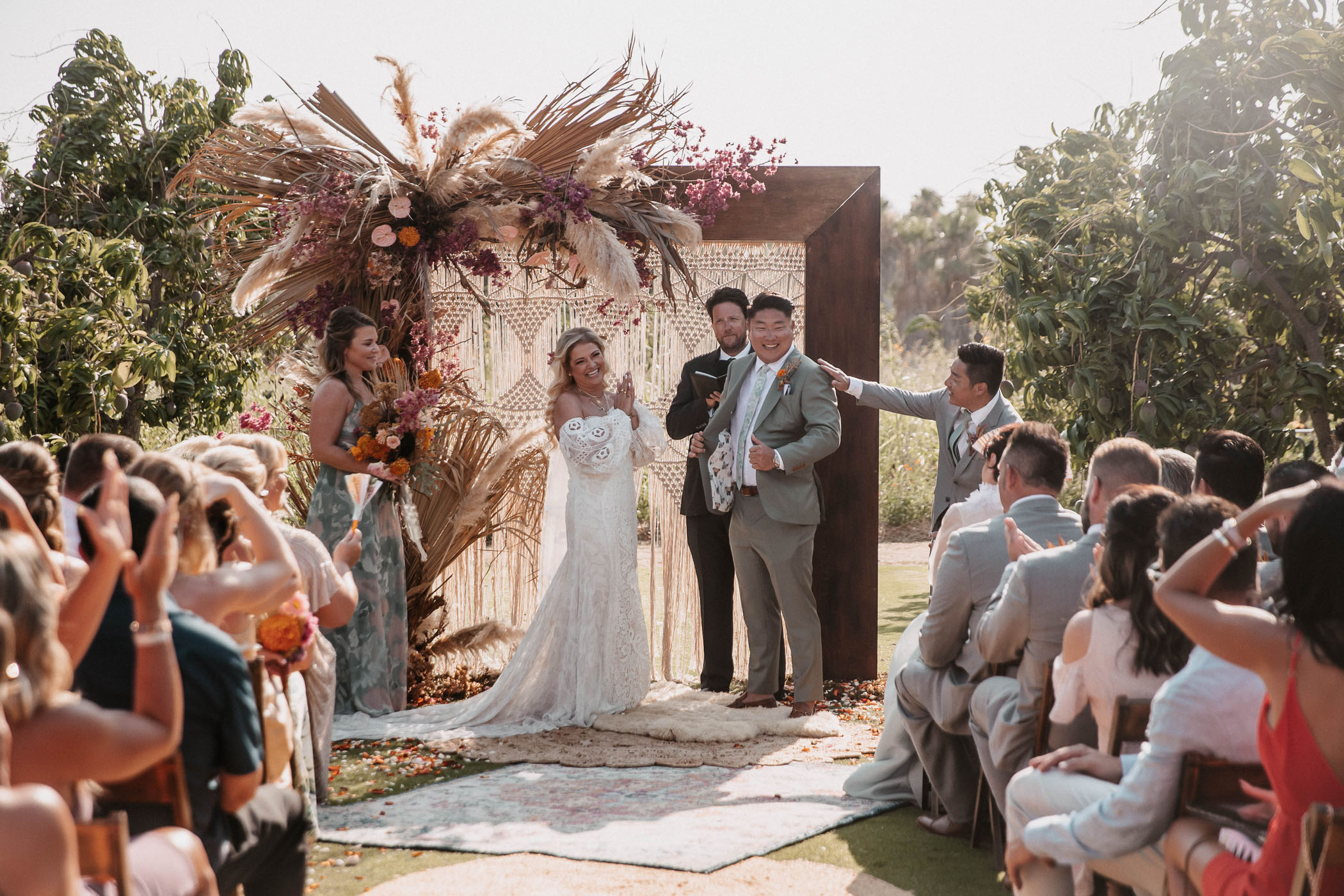 Bride and groom at the altar of their wedding in Mexico