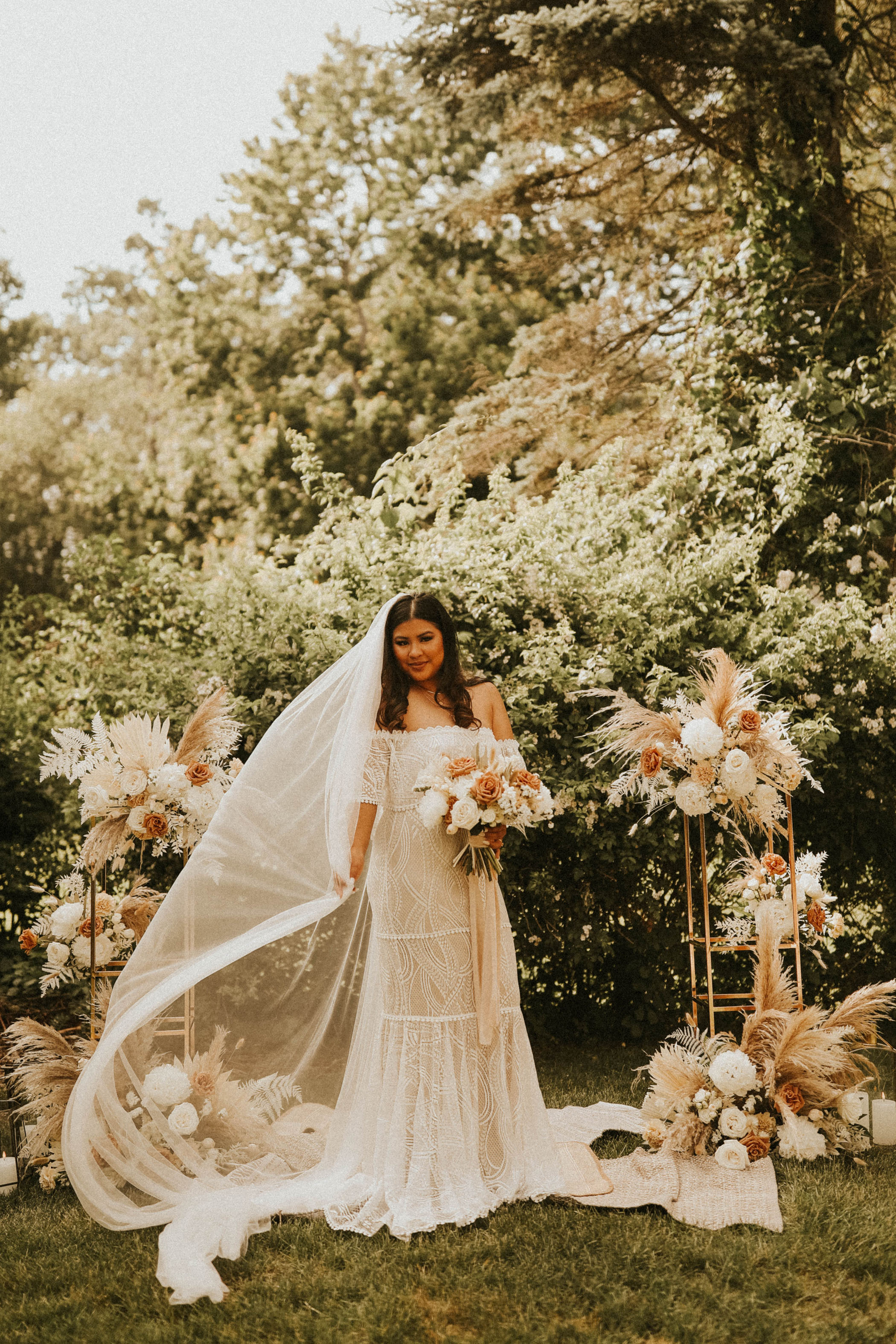 Boho bride in her at-home backyard elopement ceremony