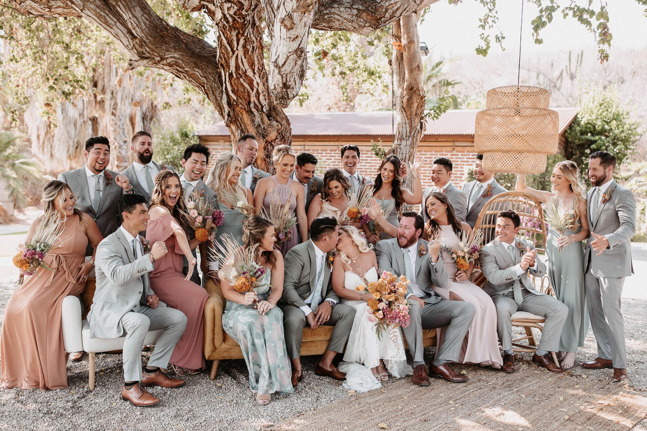 Wedding day photoshoot of the groomsmen and bridesmaids