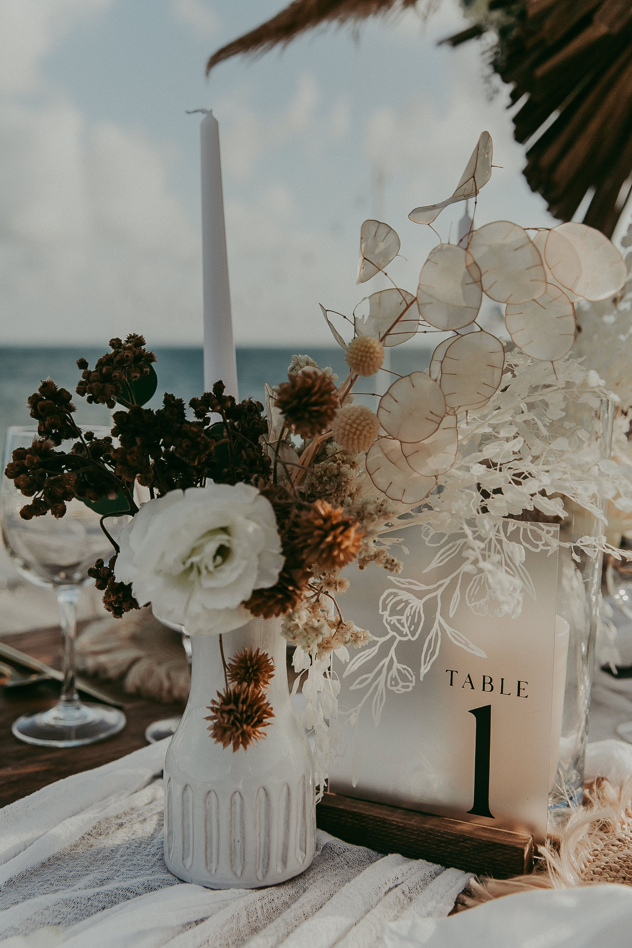 White floral reception table setup
