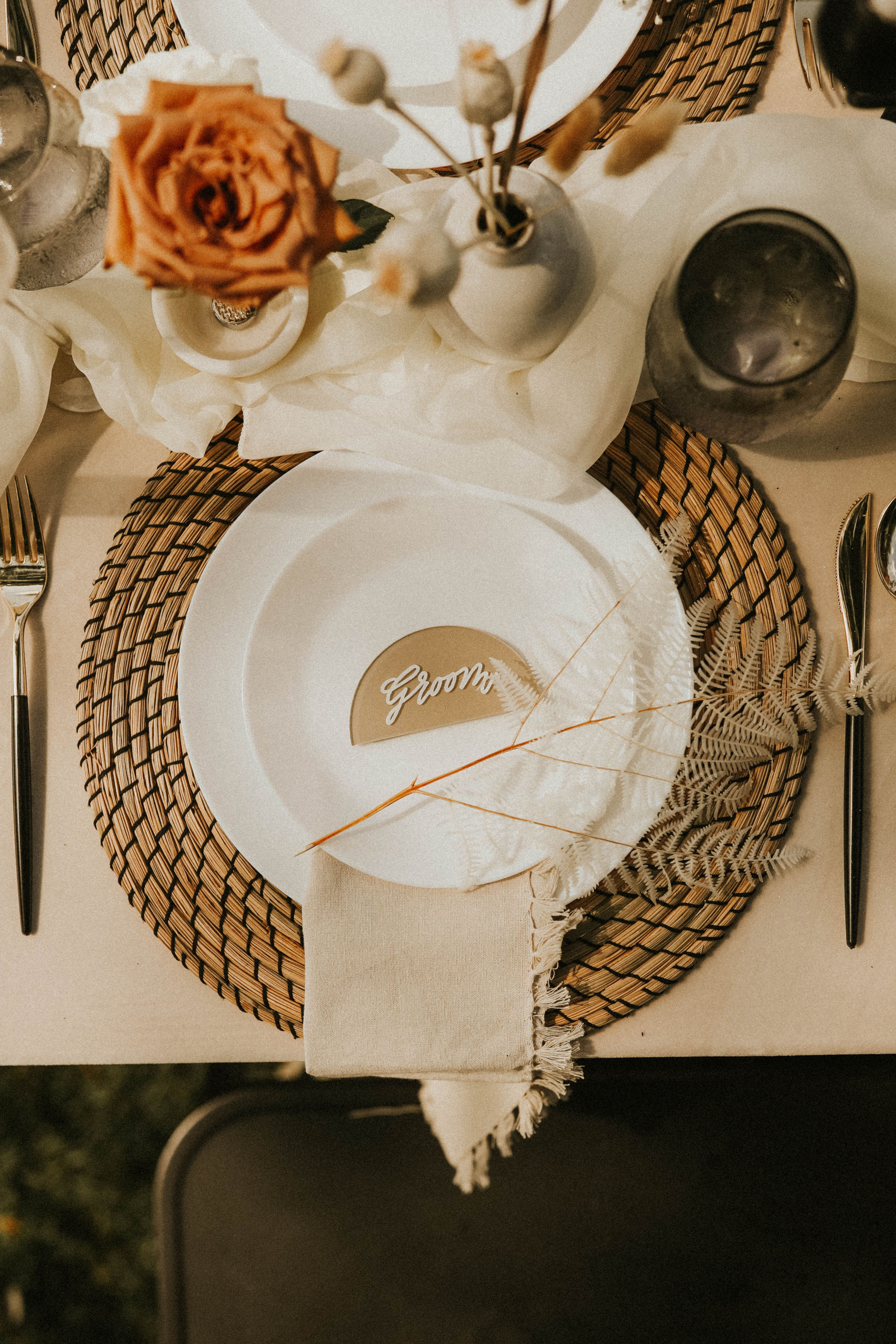 Groom's place setting for his backyard elopement