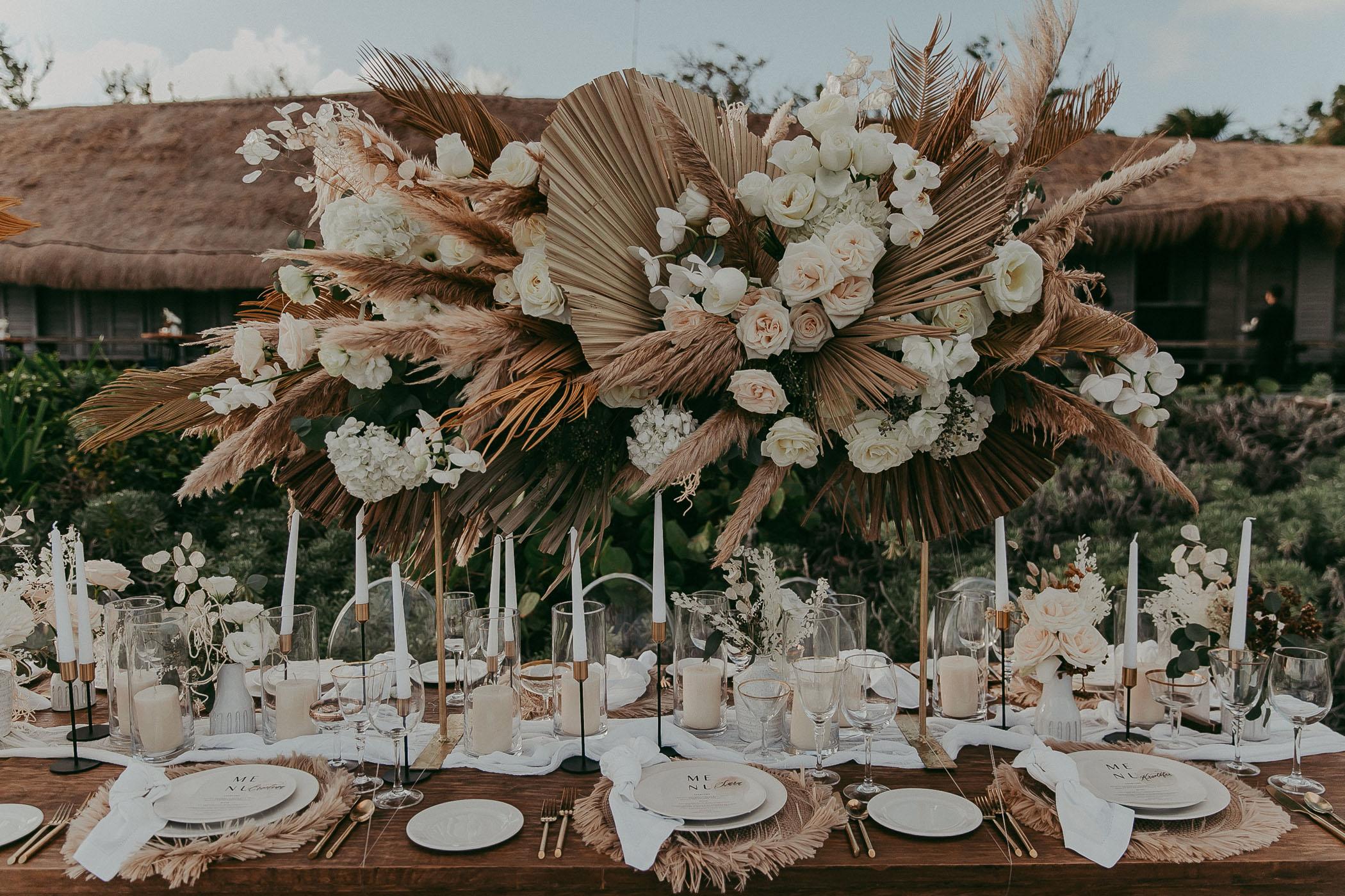 boho flower installation for reception table