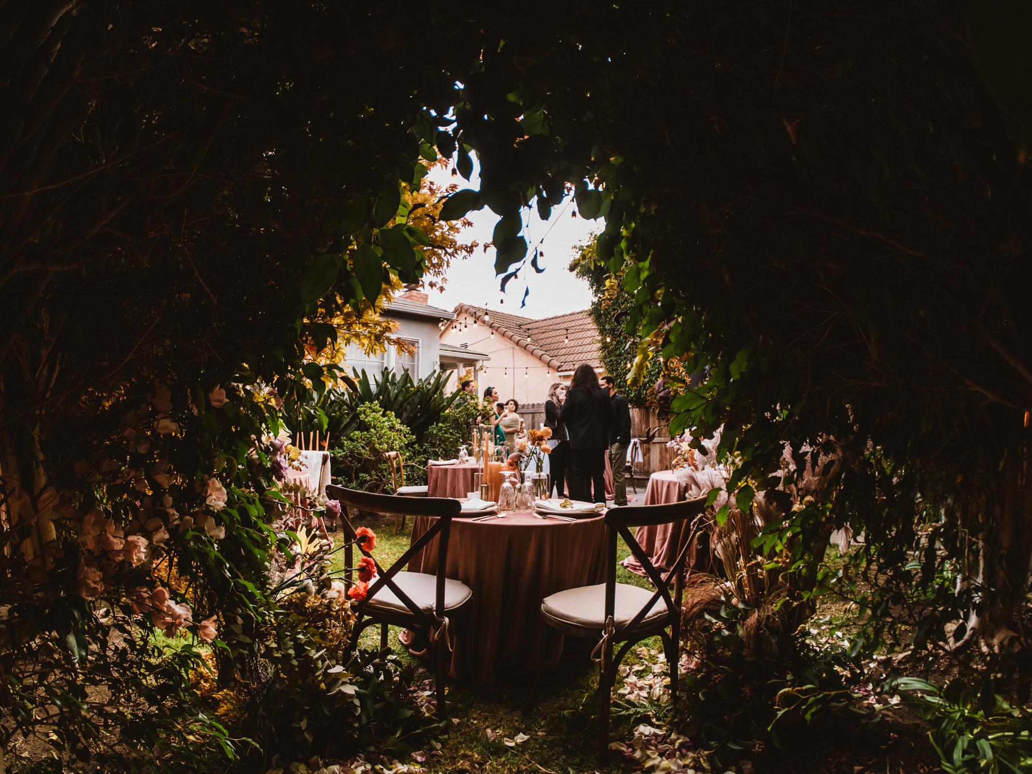 Ethereal view of a garden micro wedding