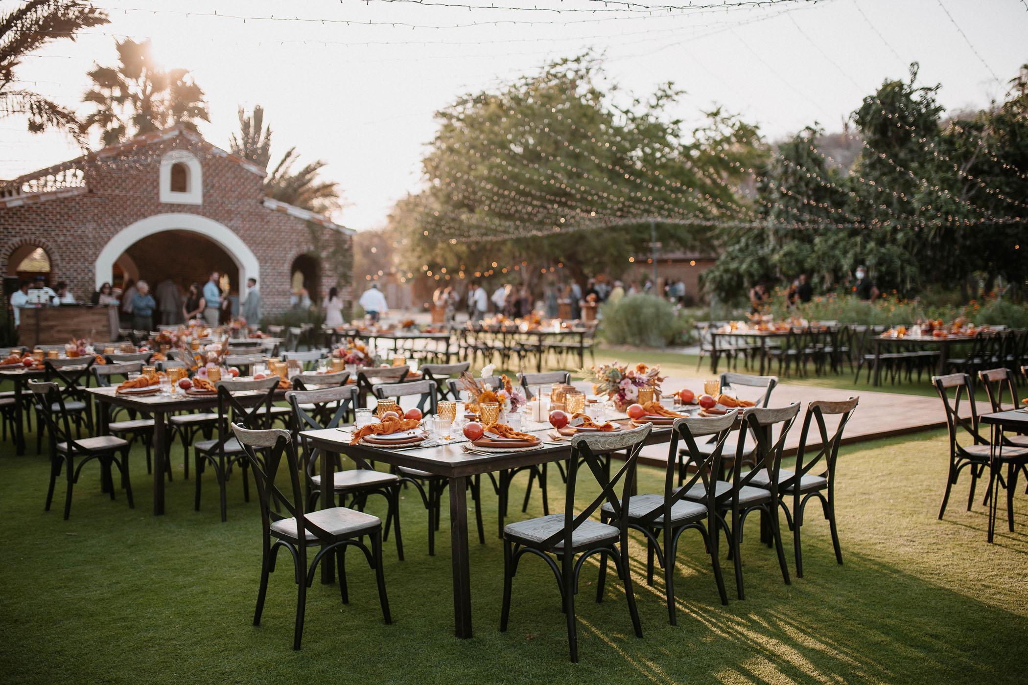 Terracotta and peach wedding reception