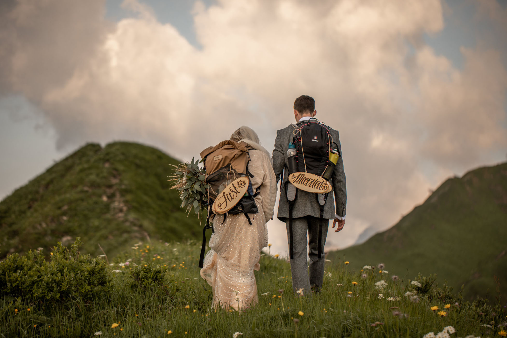 """A unique hiking twist for """"just married"""" signs"""